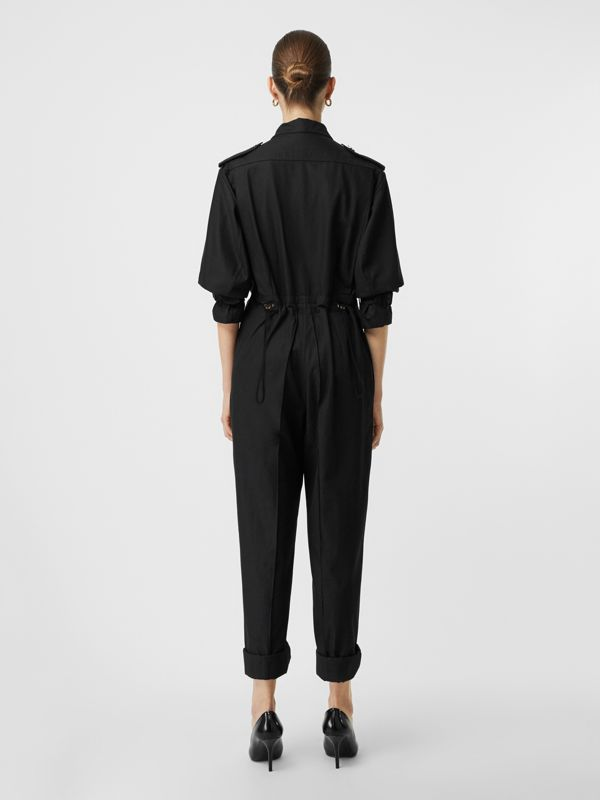 Cotton Gabardine Jumpsuit in Black - Women | Burberry United Kingdom - cell image 2