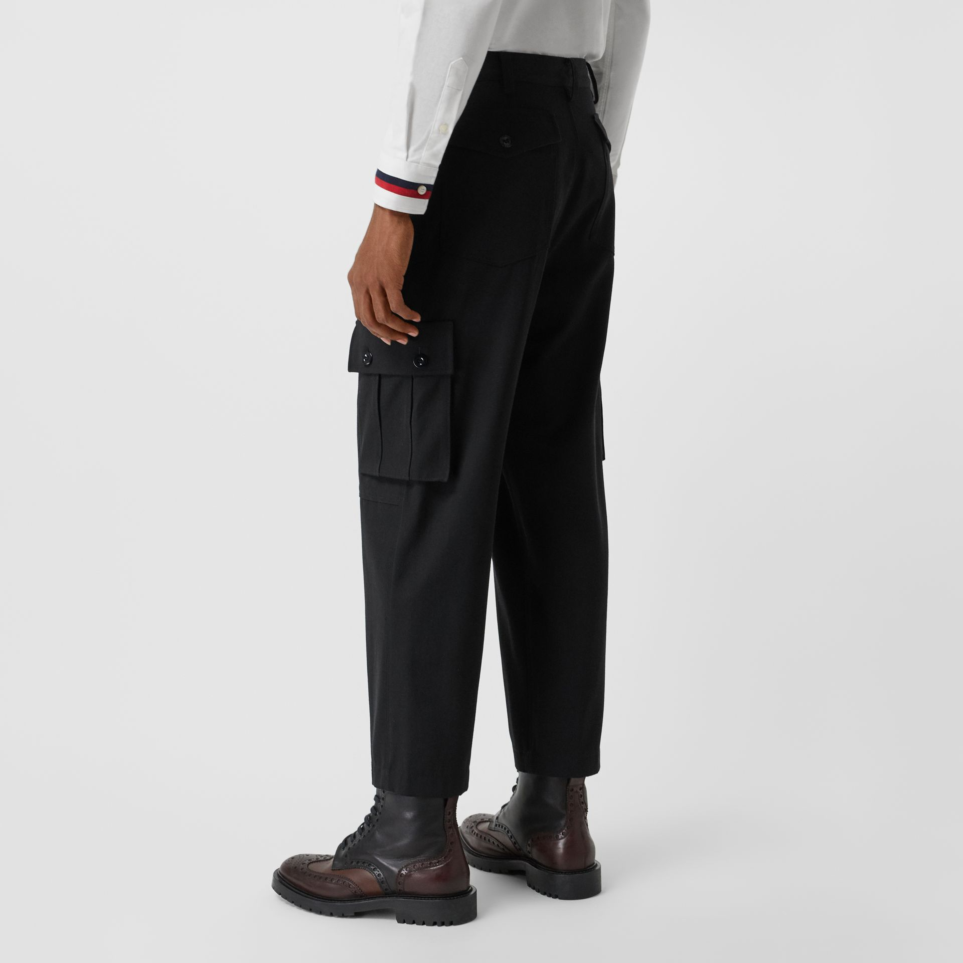 Cotton Wool Blend Cropped Cargo Trousers in Black - Men | Burberry Hong Kong - gallery image 2