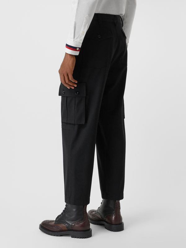 Cotton Wool Blend Cropped Cargo Trousers in Black - Men | Burberry Hong Kong - cell image 2