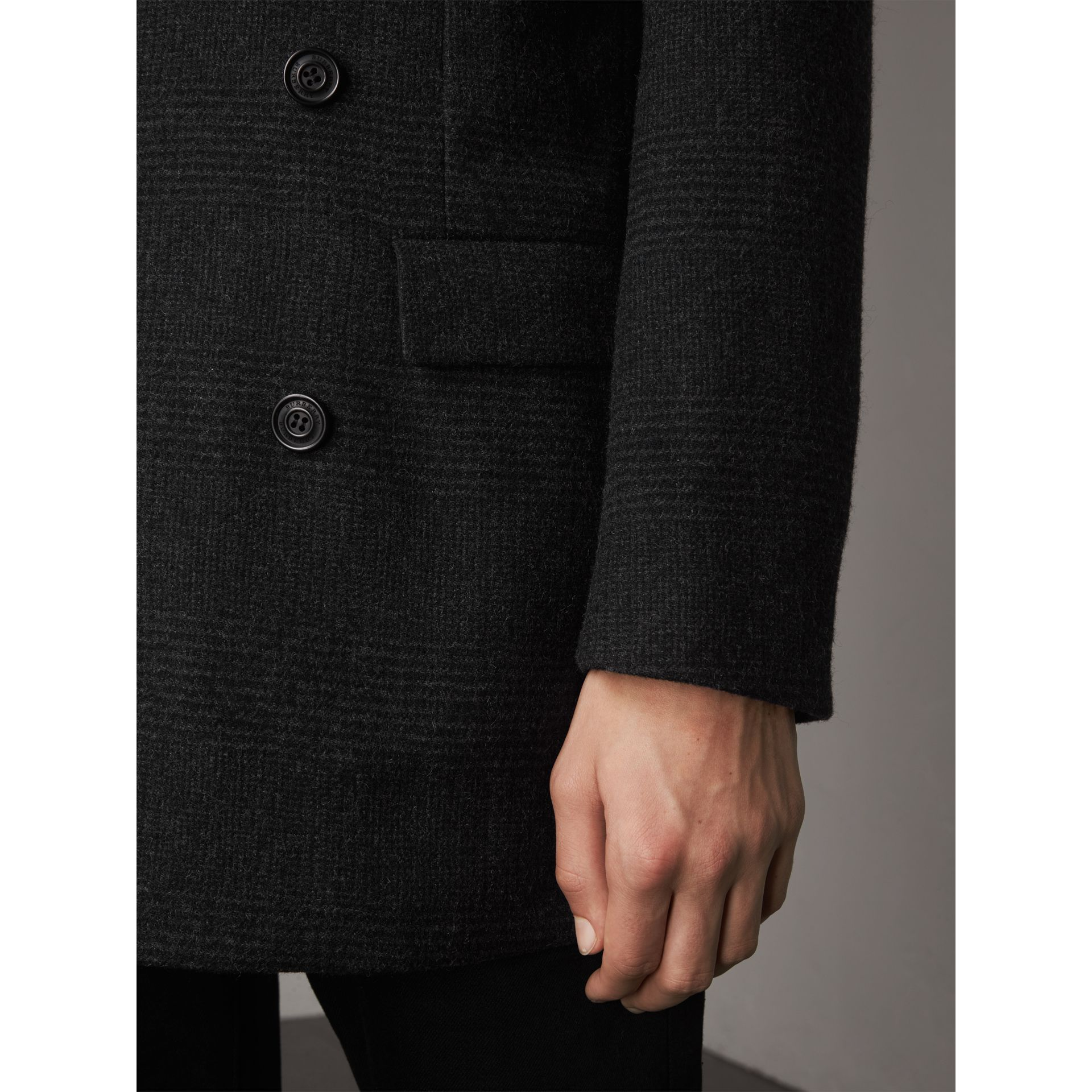 Prince of Wales Wool Blend Double-breasted Jacket in Charcoal Melange - Men | Burberry United Kingdom - gallery image 2