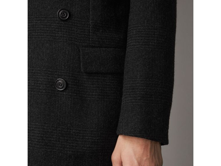 Prince of Wales Wool Blend Double-breasted Jacket in Charcoal Melange - Men | Burberry Australia - cell image 1