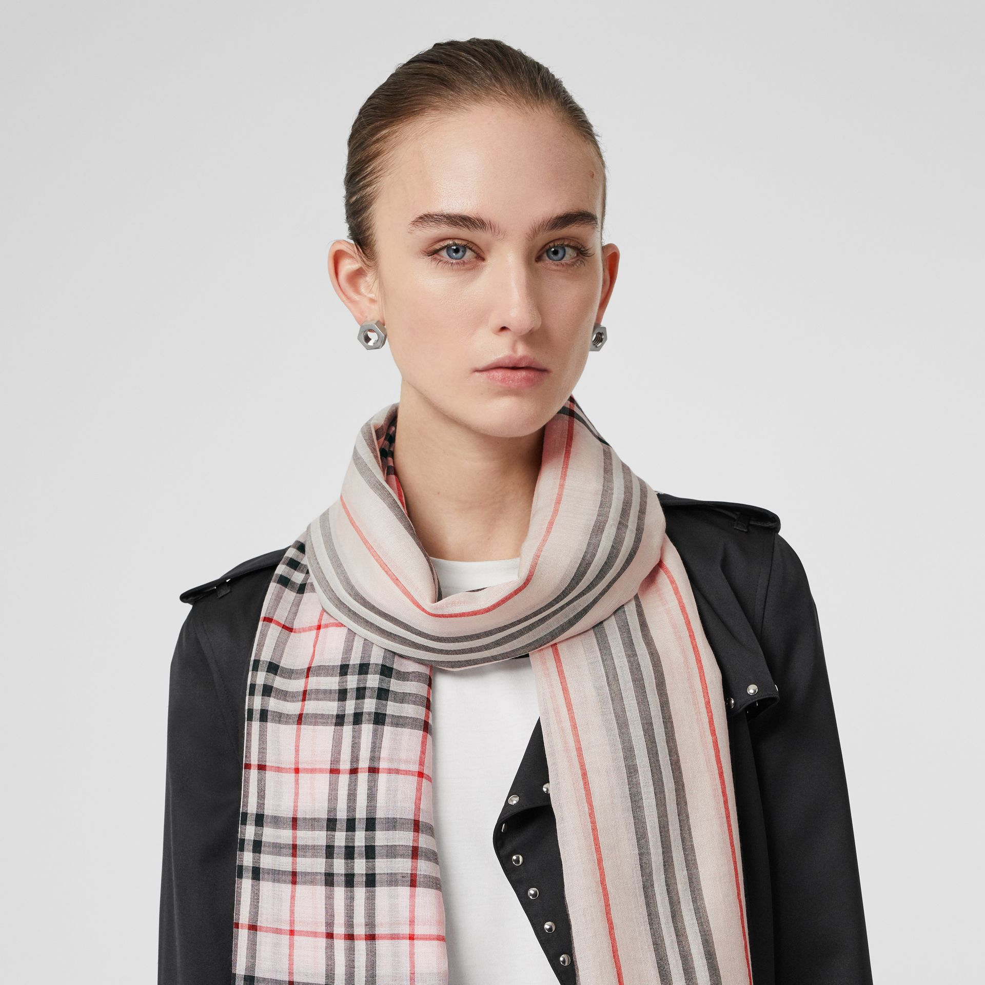 Icon Stripe and Vintage Check Wool Silk Scarf in Alabaster Pink | Burberry - gallery image 2