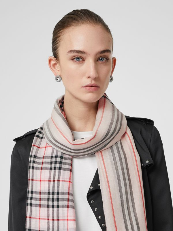 Icon Stripe and Vintage Check Wool Silk Scarf in Alabaster Pink | Burberry - cell image 2