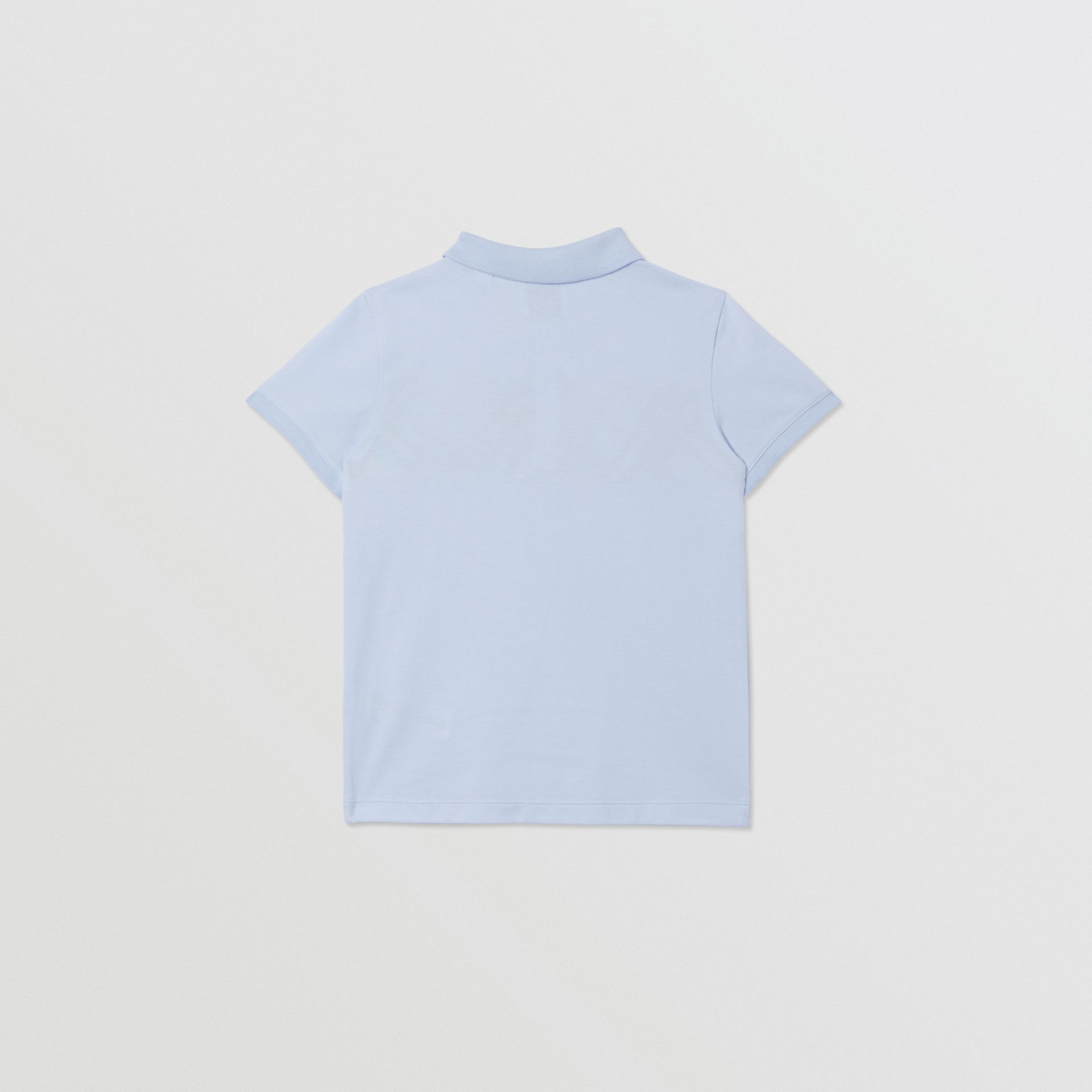 Check Panel Cotton Polo Shirt in Light Blue | Burberry - gallery image 2