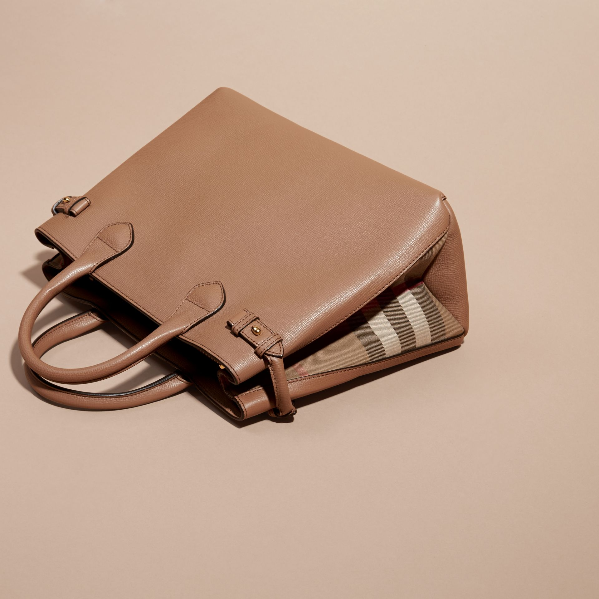 The Medium Banner in Leather and House Check in Dark Sand - Women | Burberry - gallery image 5