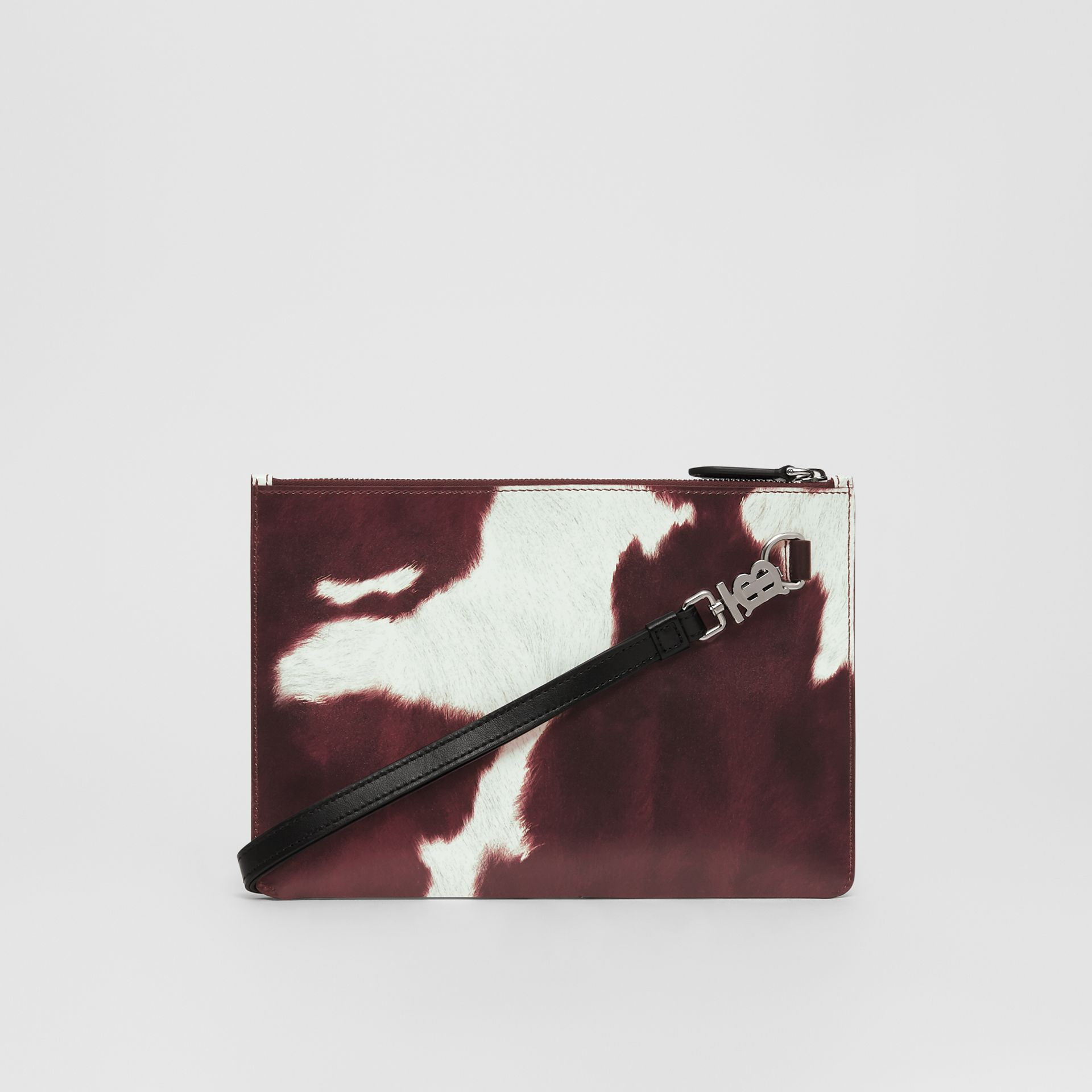 Cow Print Leather Zip Pouch in Mahogany - Women | Burberry - gallery image 5