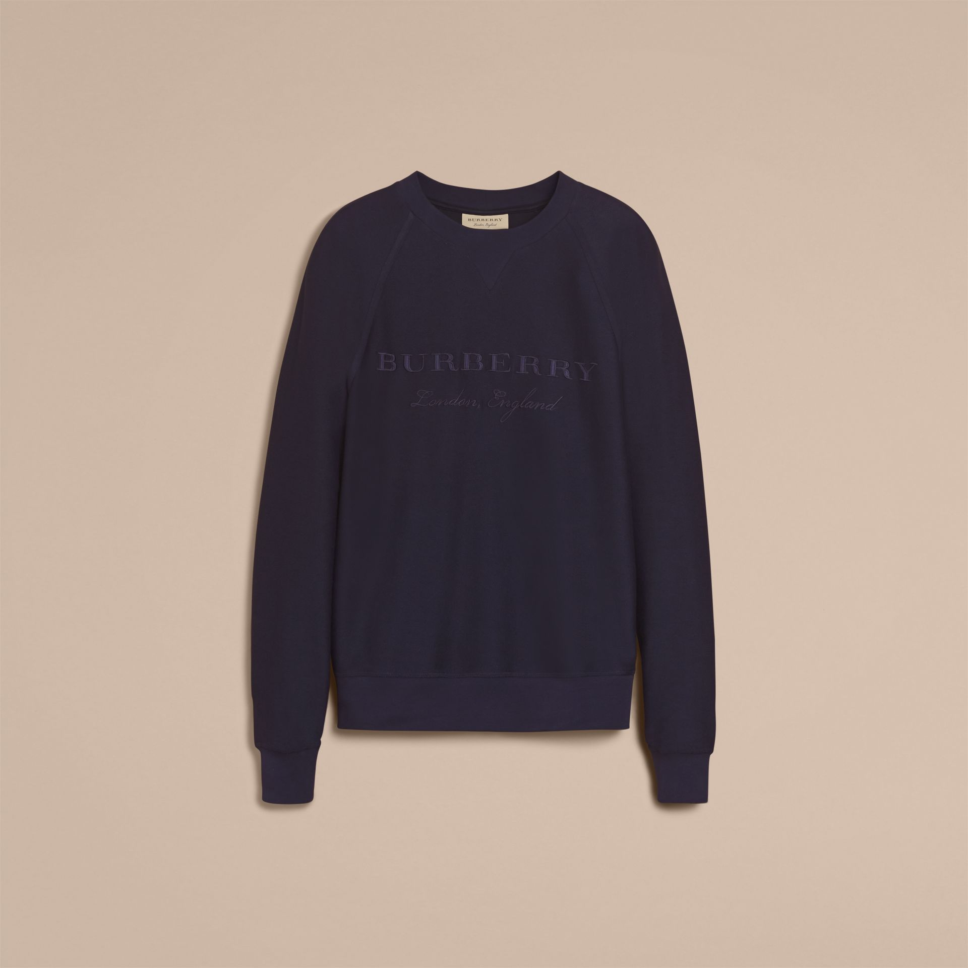 Embroidered Motif Cotton-blend Jersey Sweatshirt in Navy - Men | Burberry Australia - gallery image 4