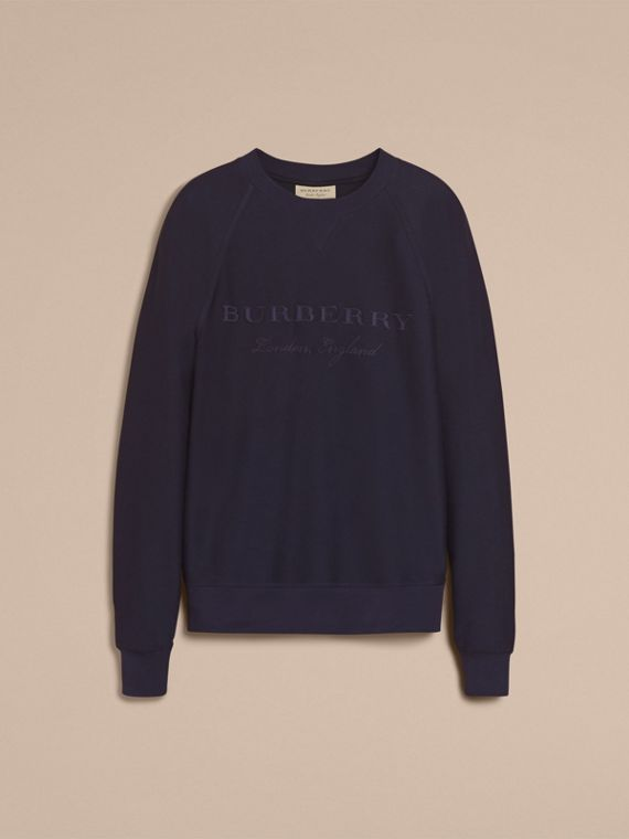 Embroidered Motif Cotton-blend Jersey Sweatshirt in Navy - Men | Burberry Australia - cell image 3