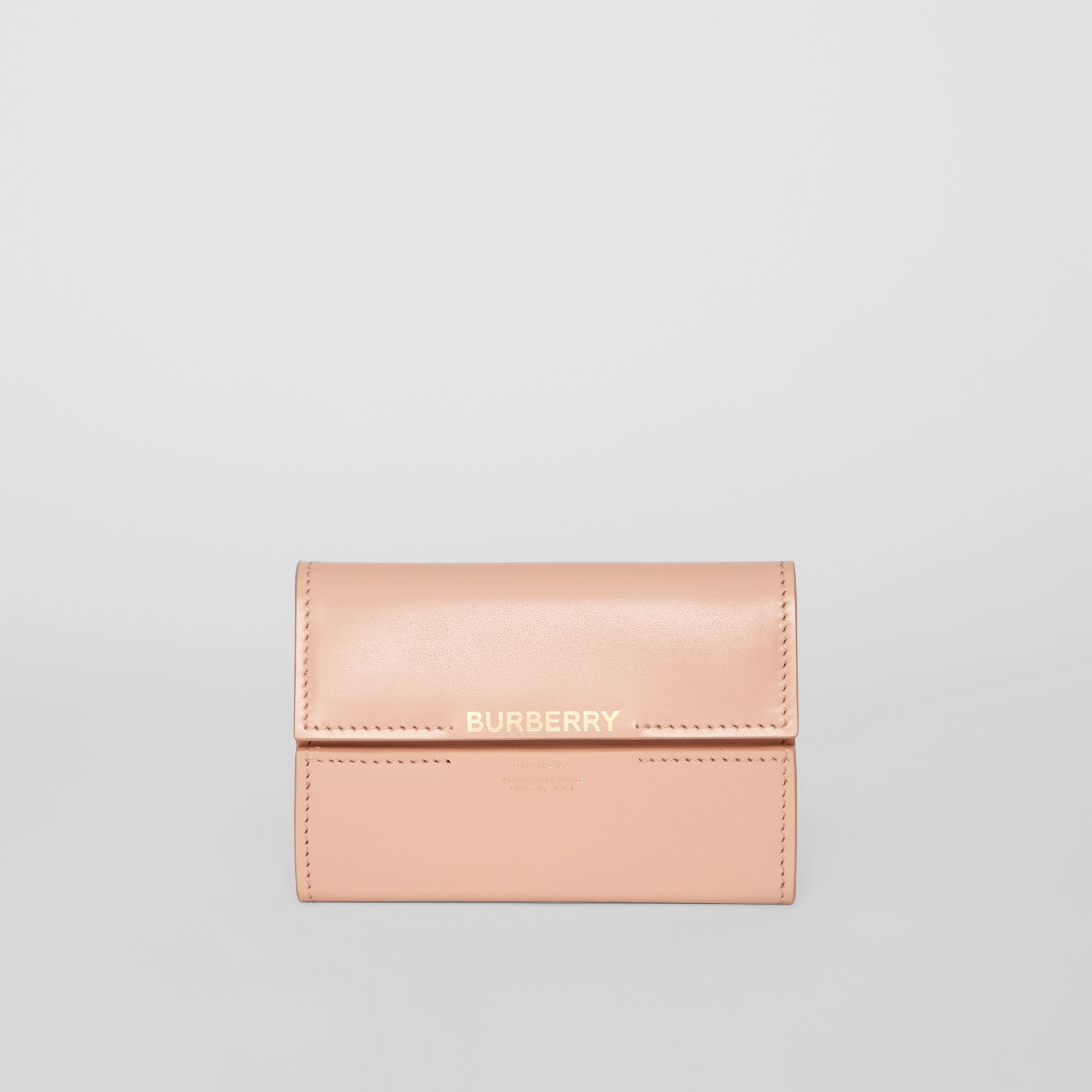 Horseferry Print Leather Folding Wallet in Blush Pink | Burberry - gallery image 0