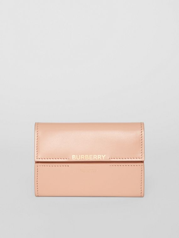 Horseferry Print Leather Folding Wallet in Blush Pink