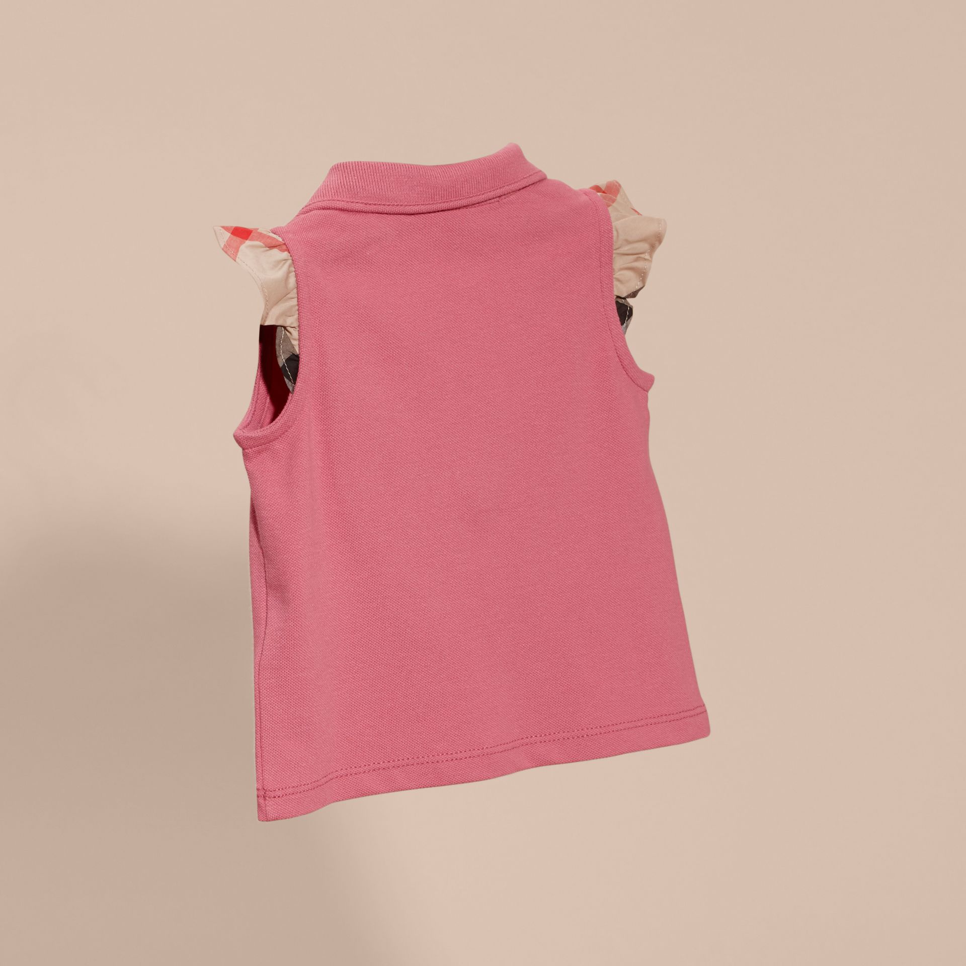 Stretch Cotton Polo Shirt with Check Sleeves Pink Azalea - gallery image 4