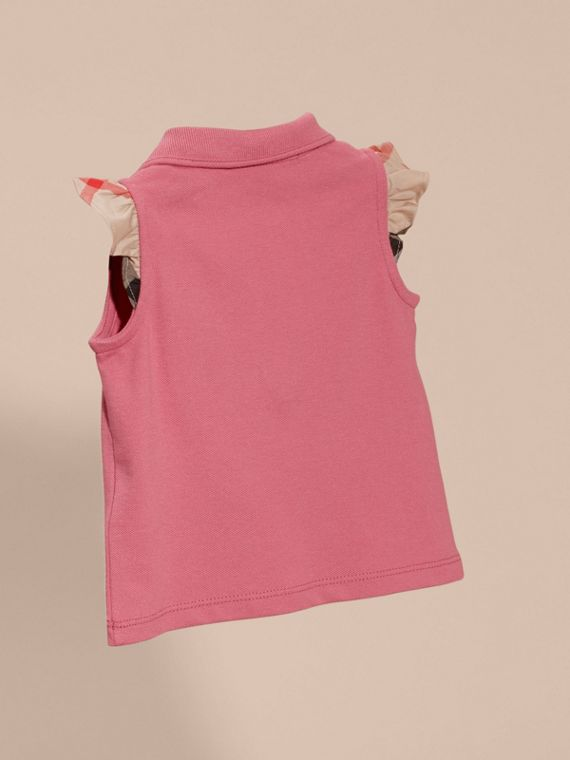 Flutter-sleeve Cotton Piqué Polo Shirt in Pink Azalea | Burberry - cell image 3