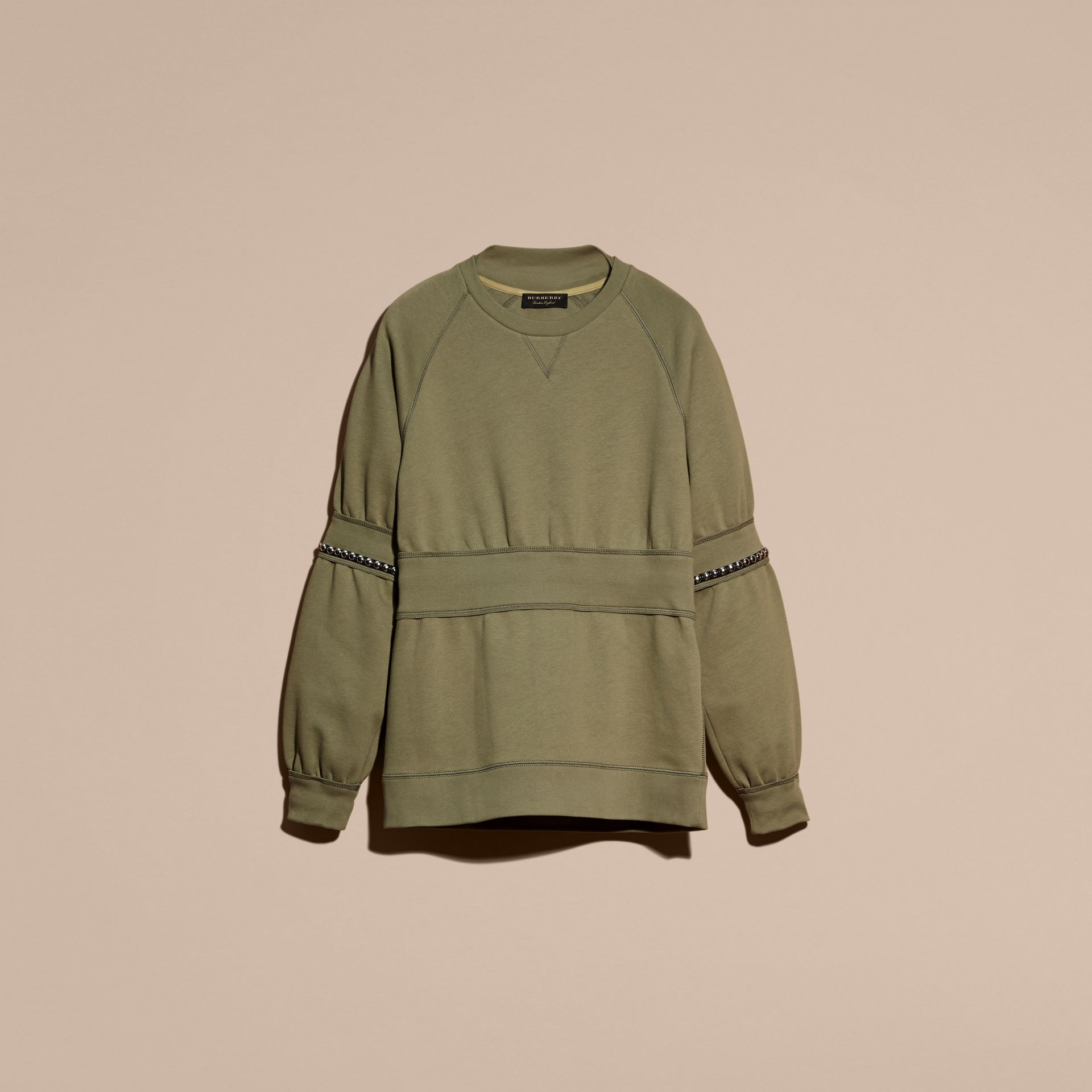Khaki Puff-sleeved Cotton Blend Jersey Sweatshirt - gallery image 4
