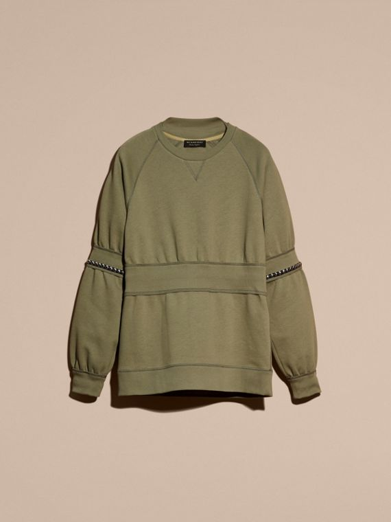 Khaki Puff-sleeved Cotton Blend Jersey Sweatshirt - cell image 3