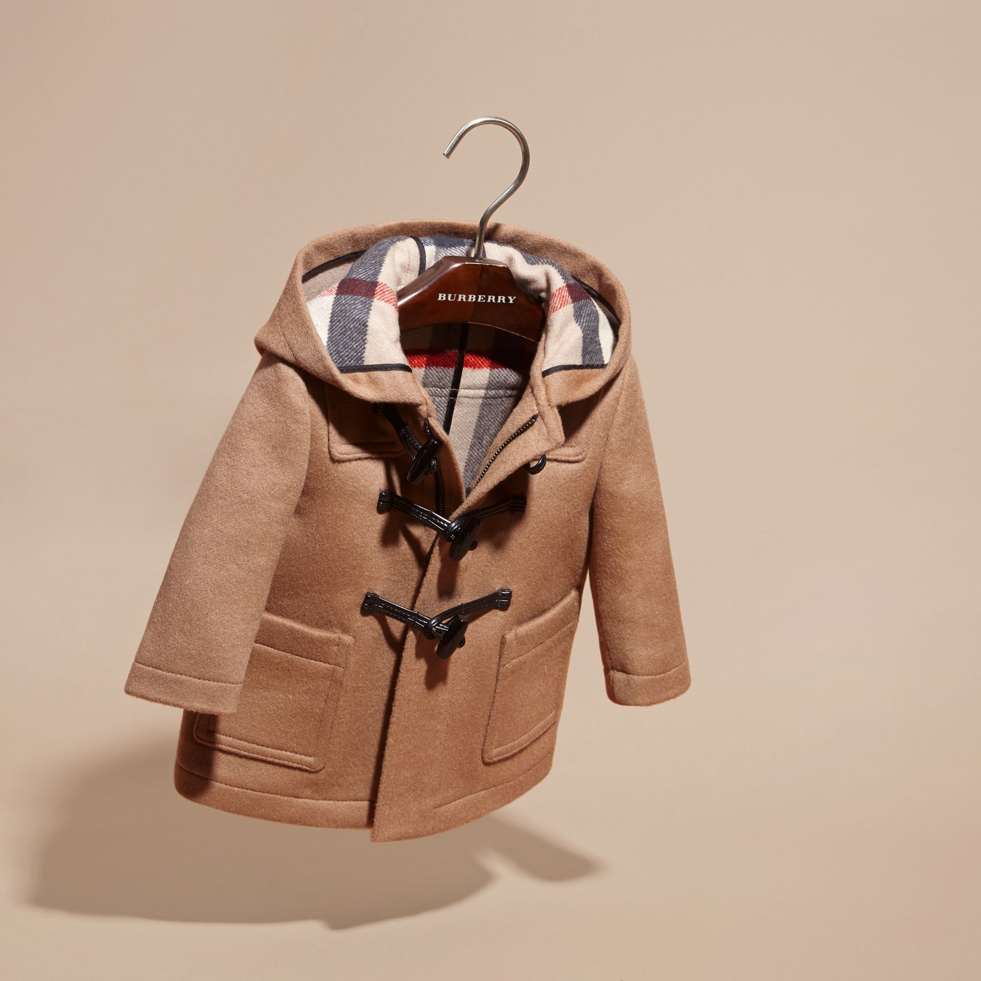 Wool Duffle Coat in New Camel - gallery image 3