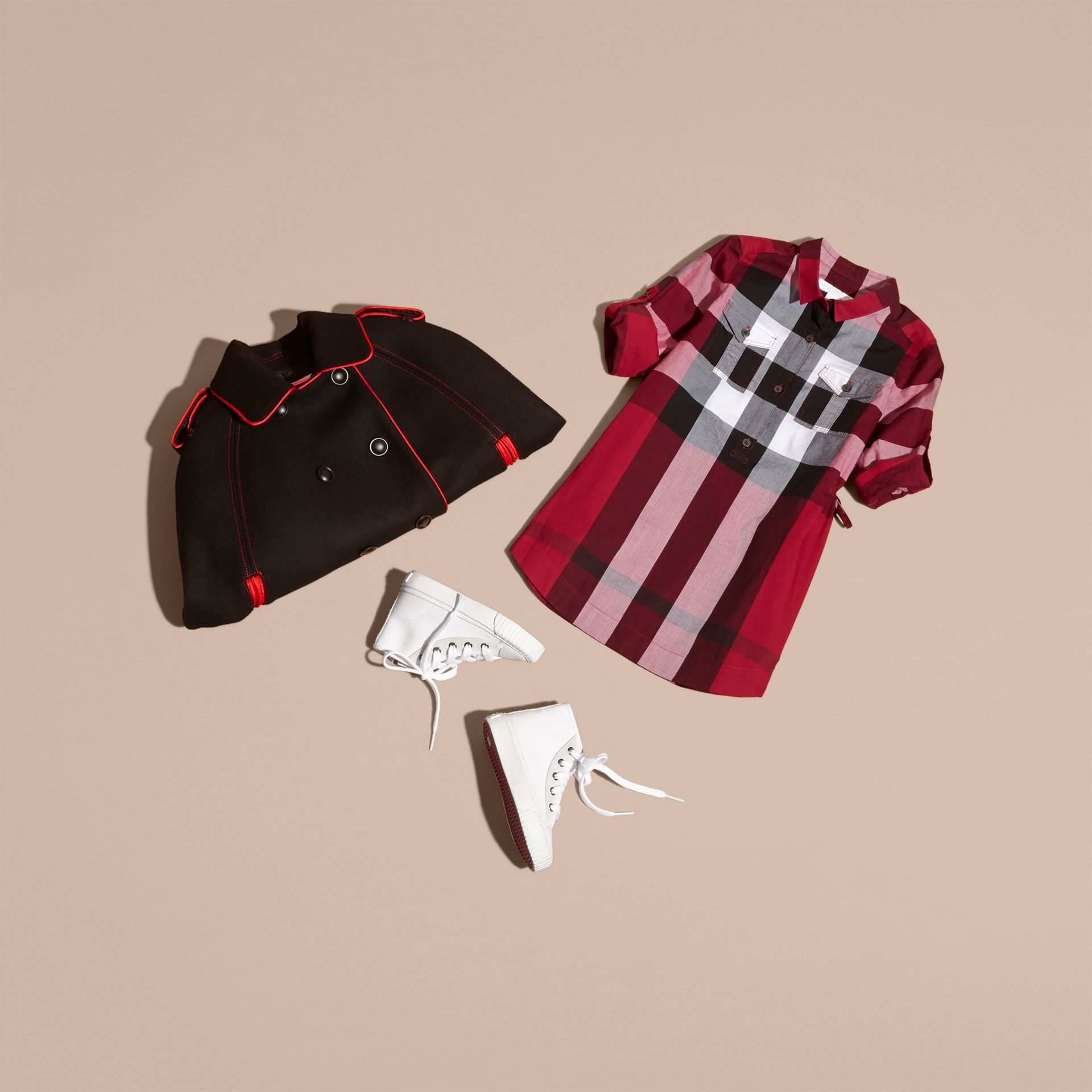 Parade red Check Cotton Shirt Dress Parade Red - gallery image 5