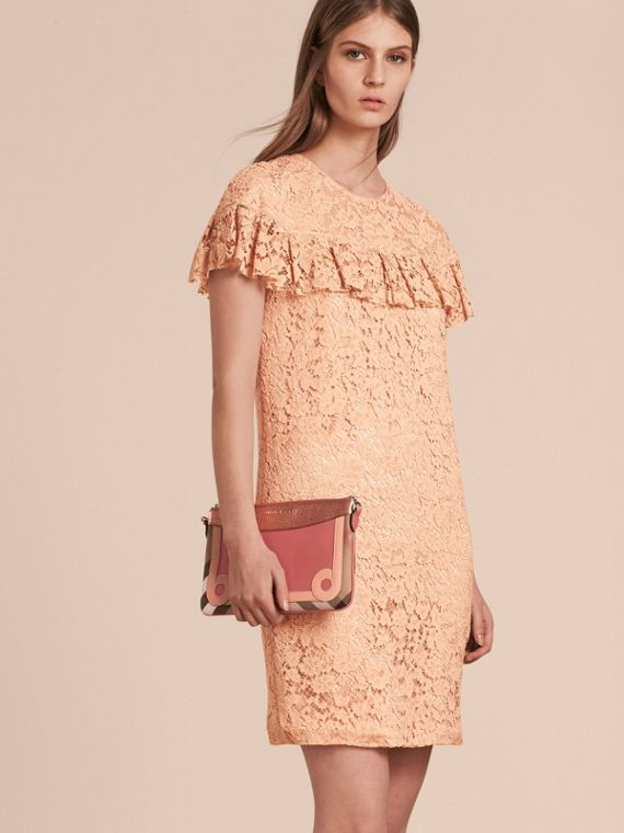 House Check and Leather Clutch Bag in Copper Pink - cell image 3