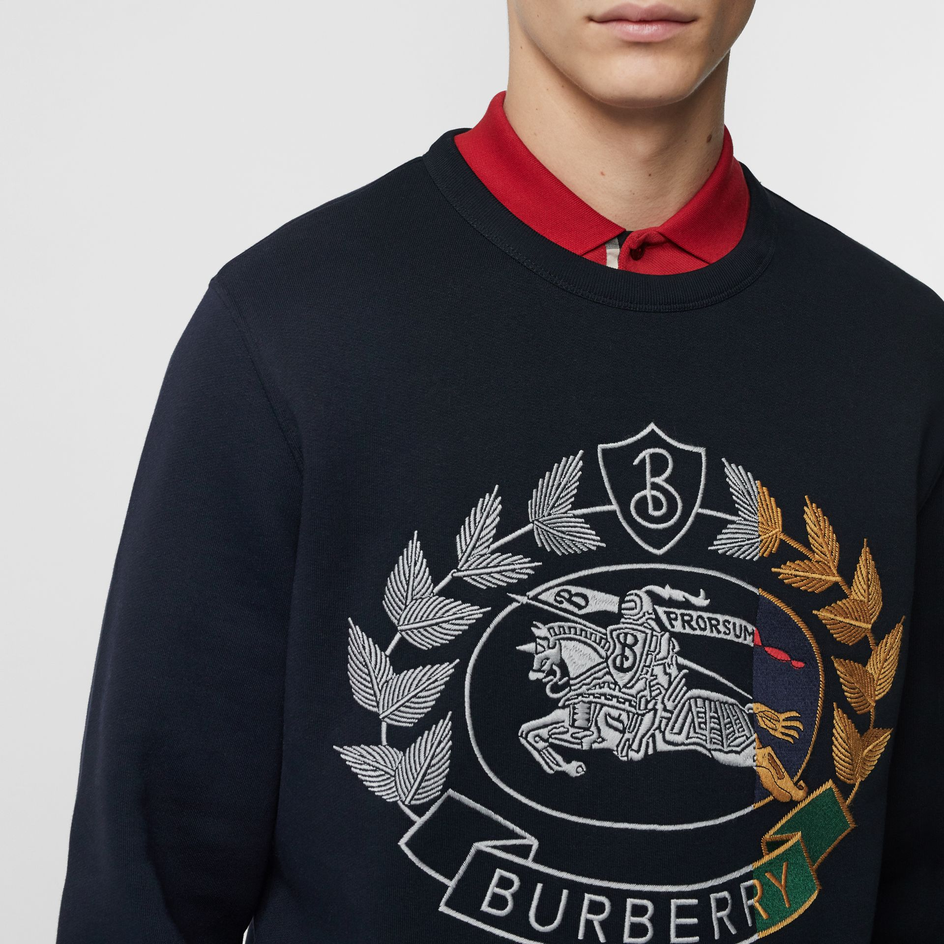 Embroidered Crest Jersey Sweatshirt in Navy - Men | Burberry - gallery image 1