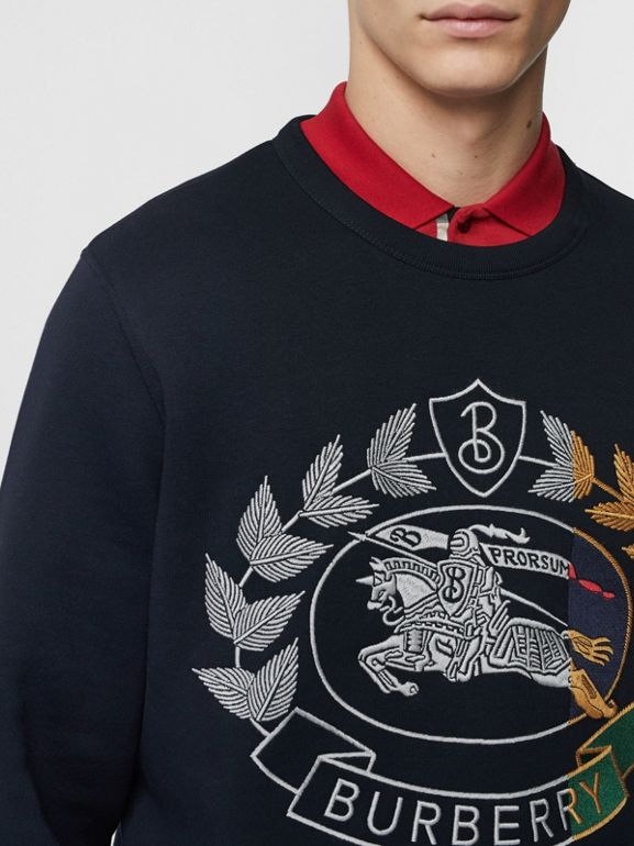 Embroidered Crest Jersey Sweatshirt in Navy - Men | Burberry Australia - cell image 1