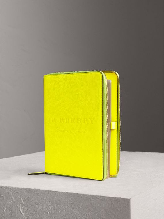 Embossed Grainy Leather Ziparound A5 Notebook Case in Bright Yellow