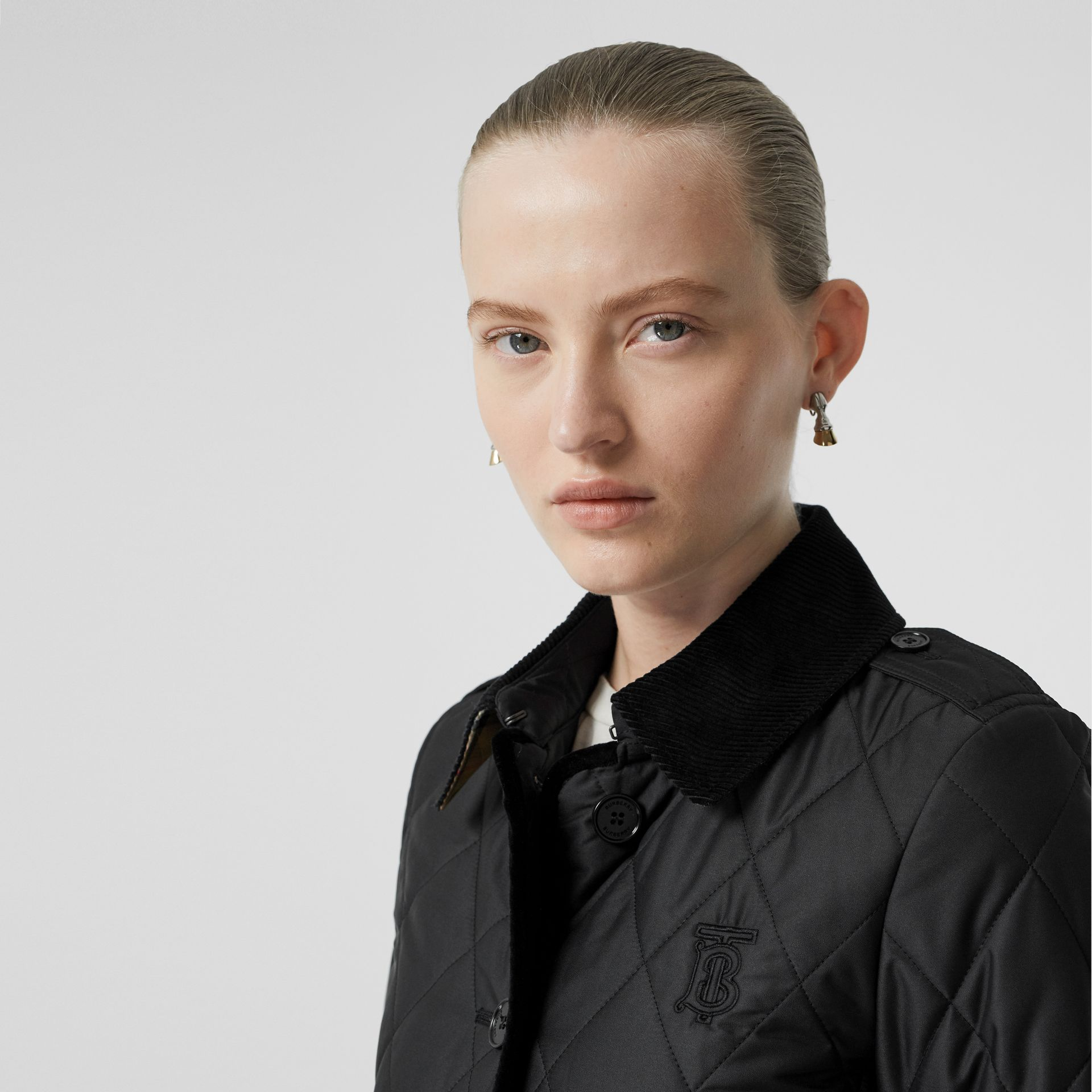 Monogram Motif Diamond Quilted Jacket in Black - Women | Burberry - gallery image 1