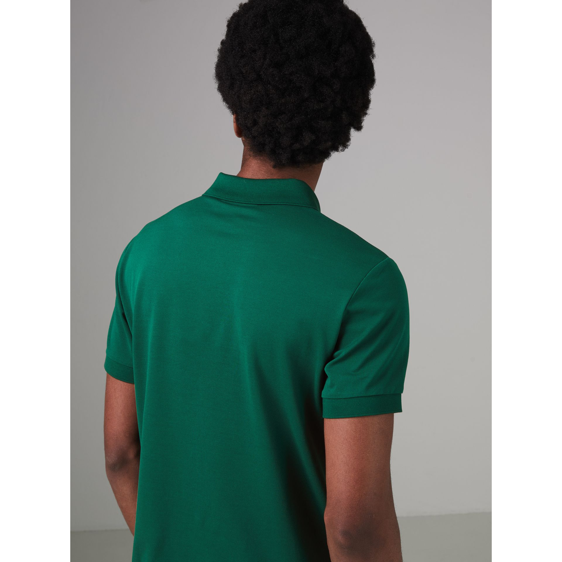 Painted Button Cotton Piqué Polo Shirt in Opal Green - Men | Burberry - gallery image 2