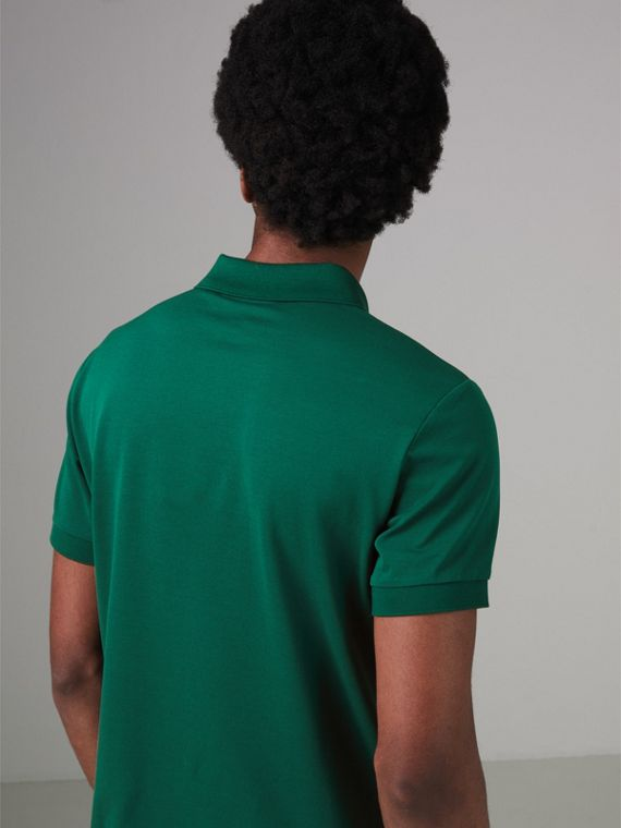 Painted Button Cotton Piqué Polo Shirt in Opal Green - Men | Burberry - cell image 2