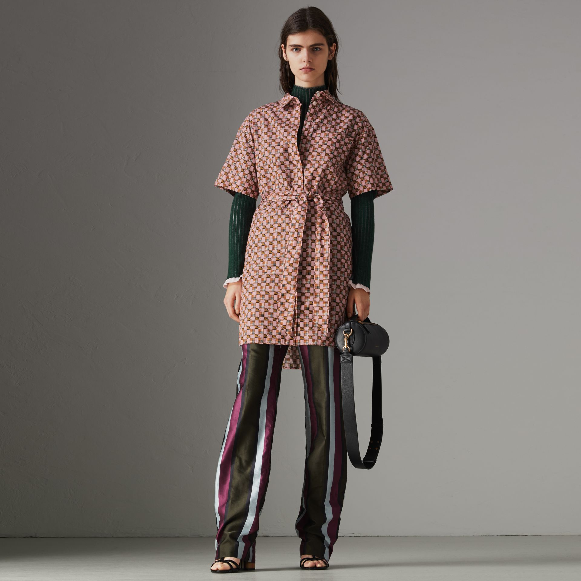 Tiled Archive Print Cotton Shirt Dress in Pink - Women | Burberry Singapore - gallery image 0