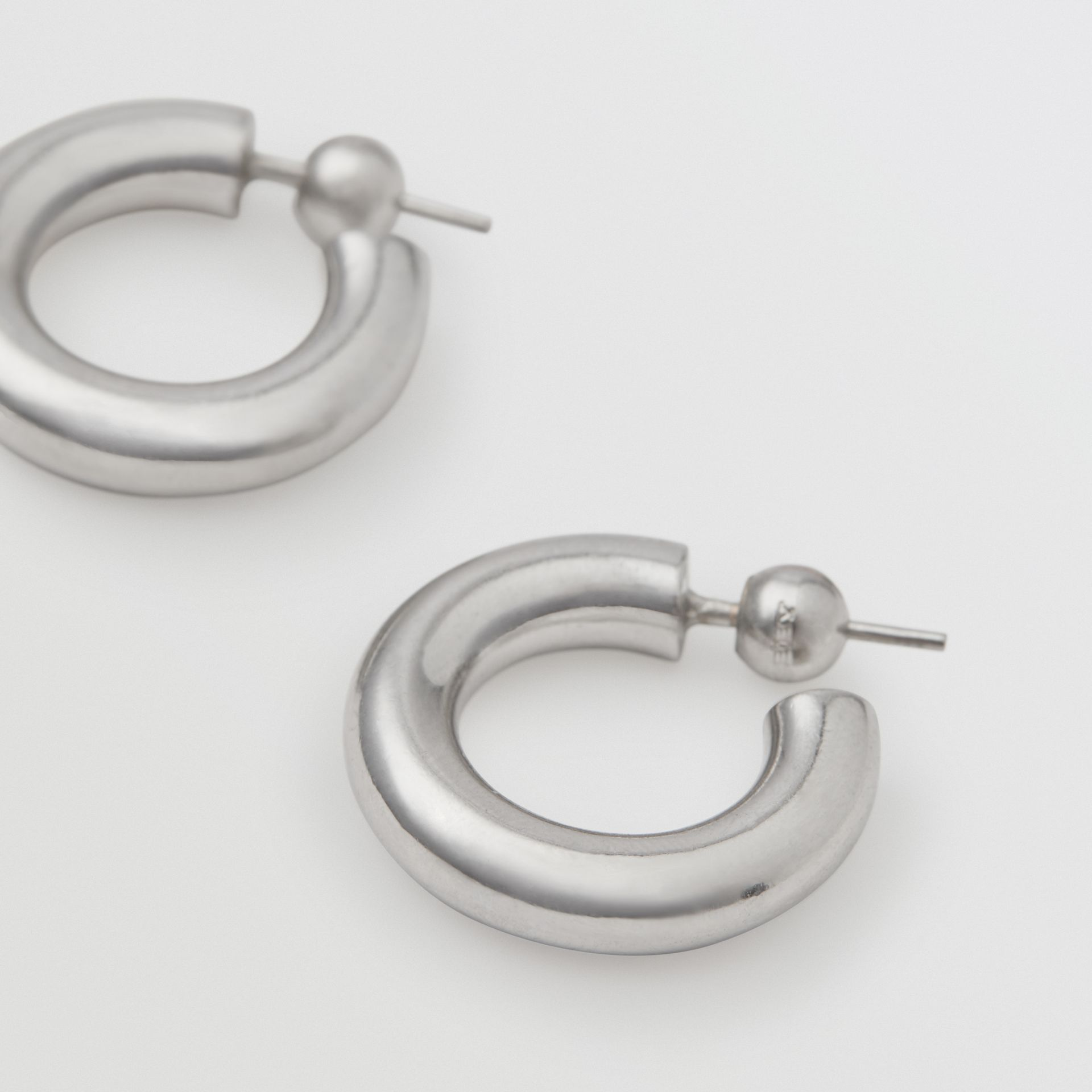 Palladium-plated Hoop Earrings in Palladio - Women | Burberry - gallery image 1