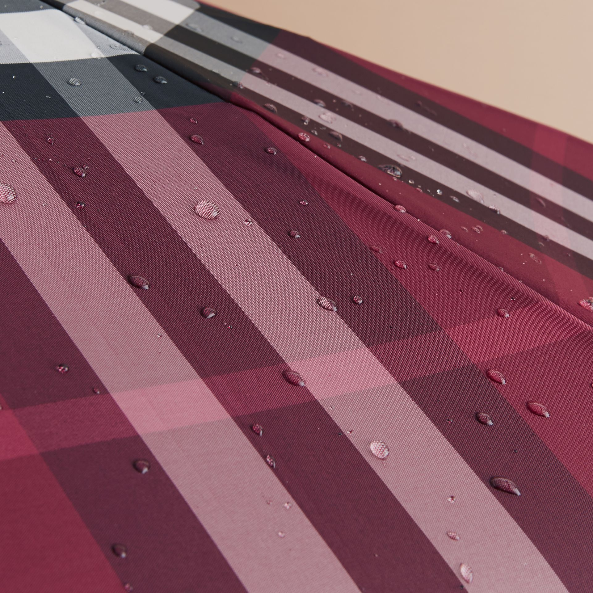 Check Folding Umbrella in Plum - gallery image 3