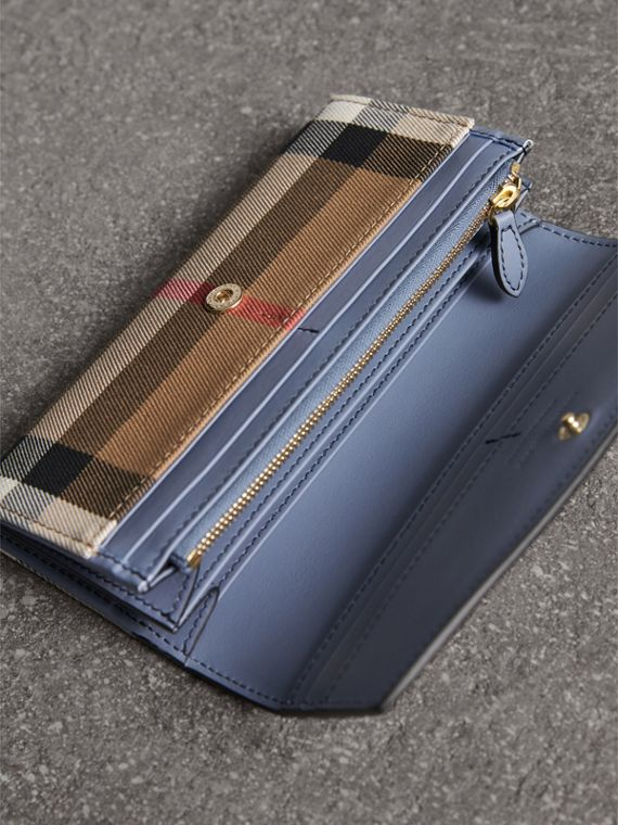 House Check And Leather Continental Wallet in Slate Blue - Women | Burberry Singapore - cell image 3