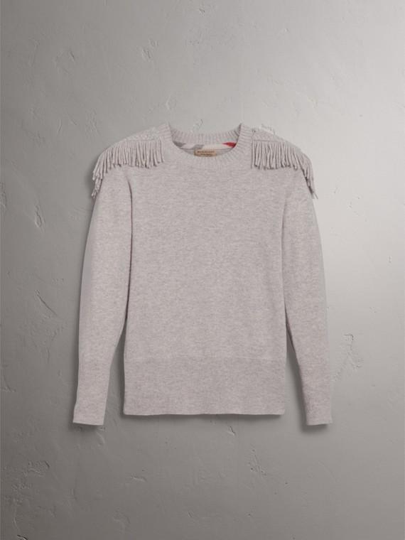 Pullover in lana e cashmere con passamanerie militari (Grigio Pallido Mélange) - Donna | Burberry - cell image 3