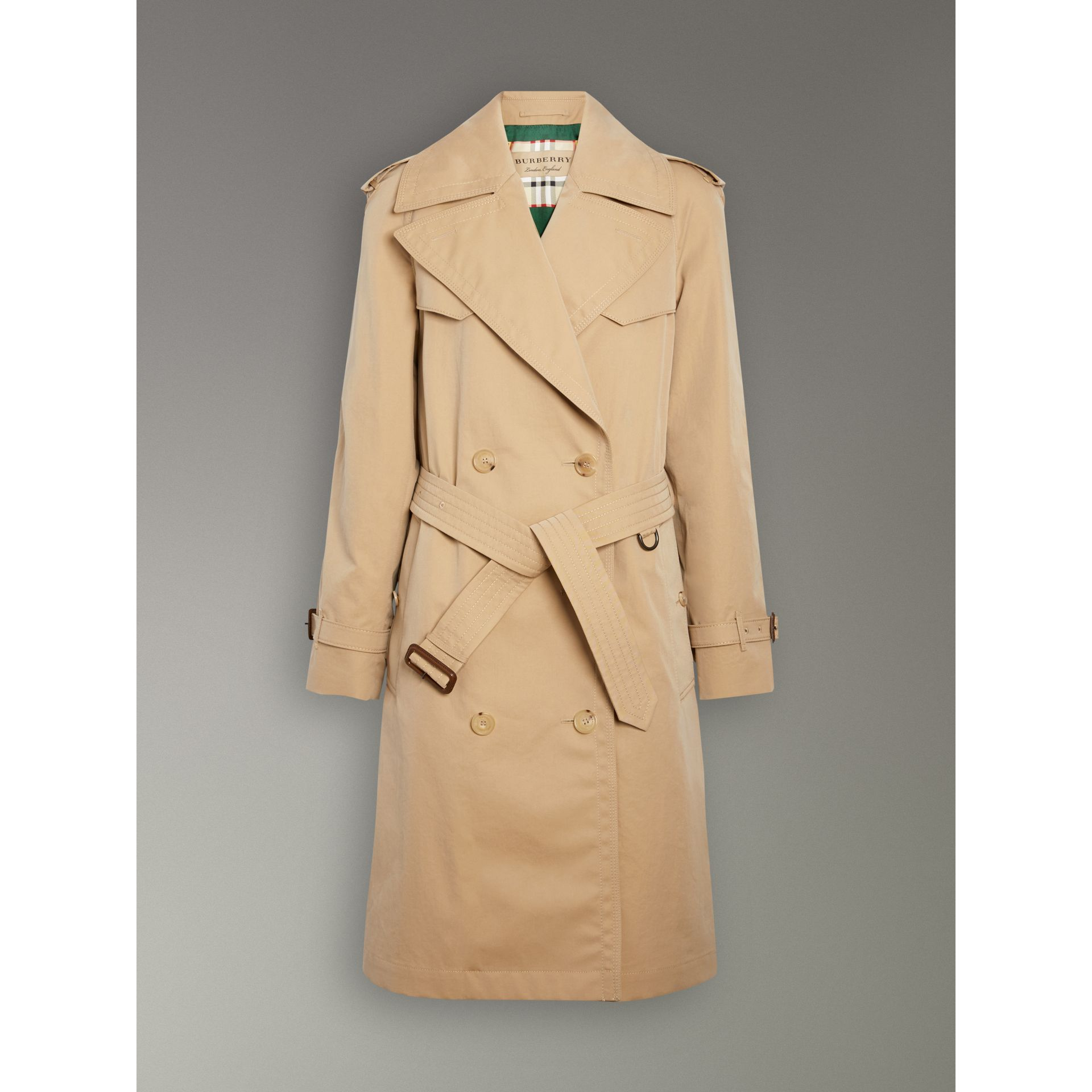 Scarf-print-lined Tropical Gabardine Trench Coat in Honey - Women | Burberry Canada - gallery image 6