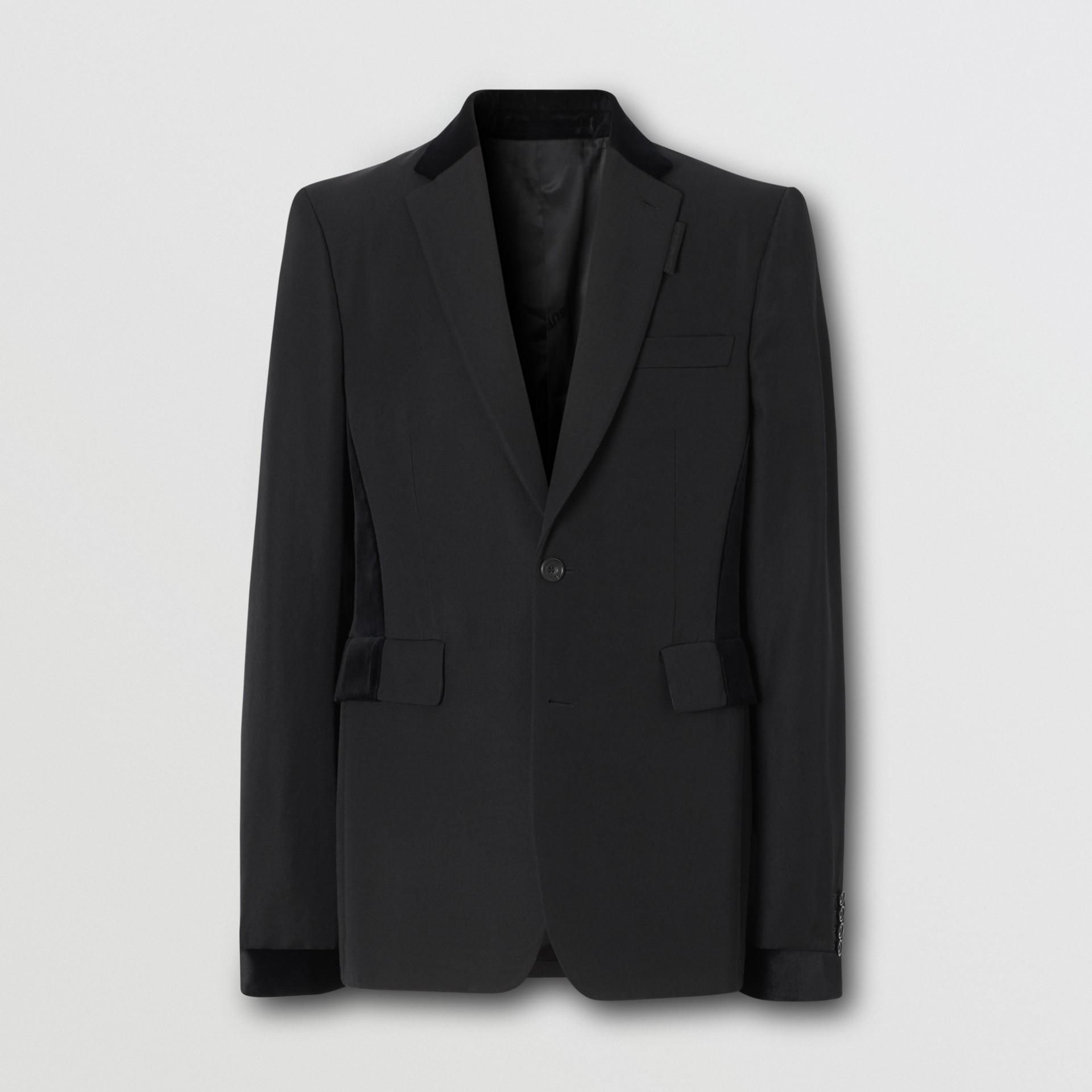 Classic Fit Velvet Trim Wool Tailored Jacket in Black - Men | Burberry Australia - gallery image 3