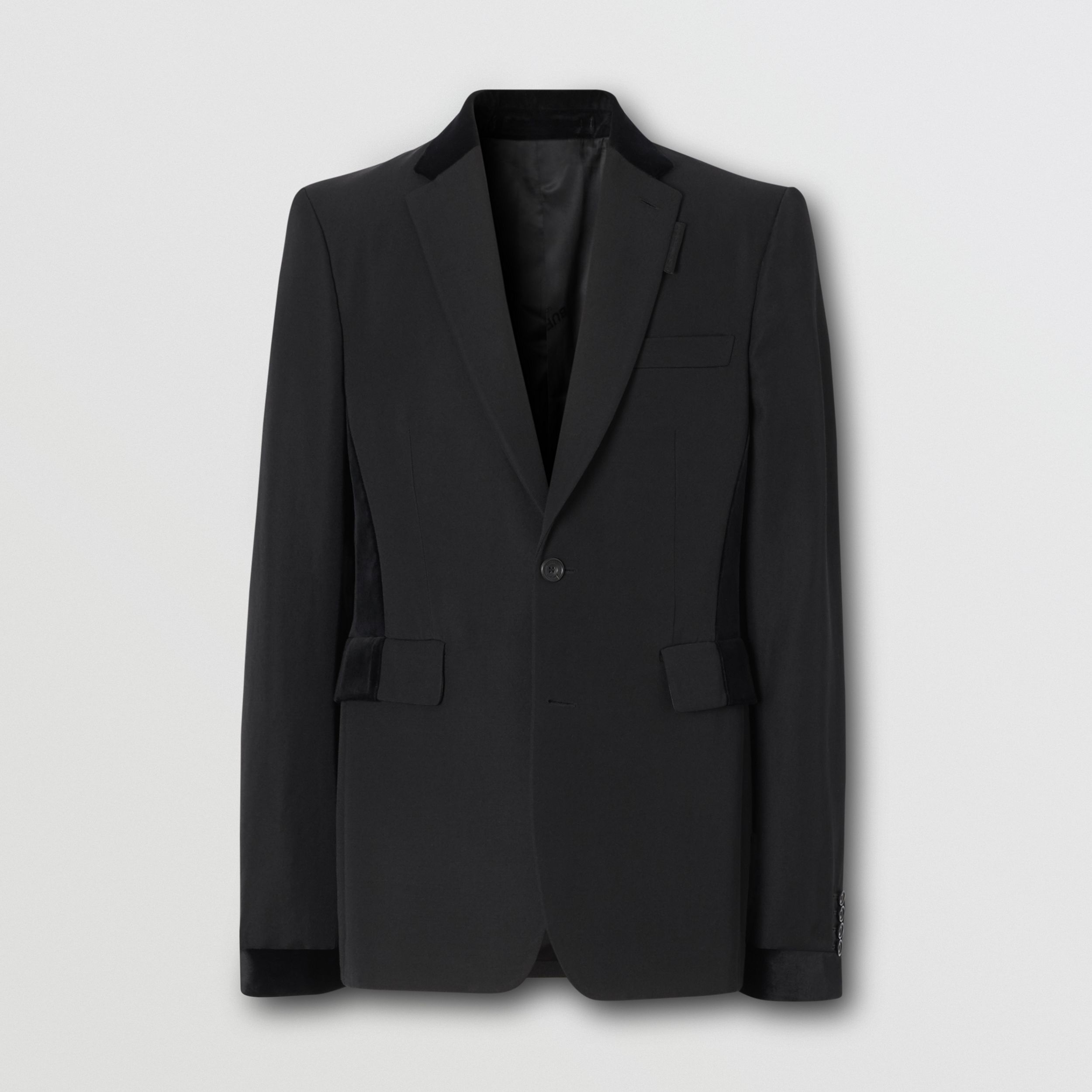 Classic Fit Velvet Trim Wool Tailored Jacket in Black - Men | Burberry - 4