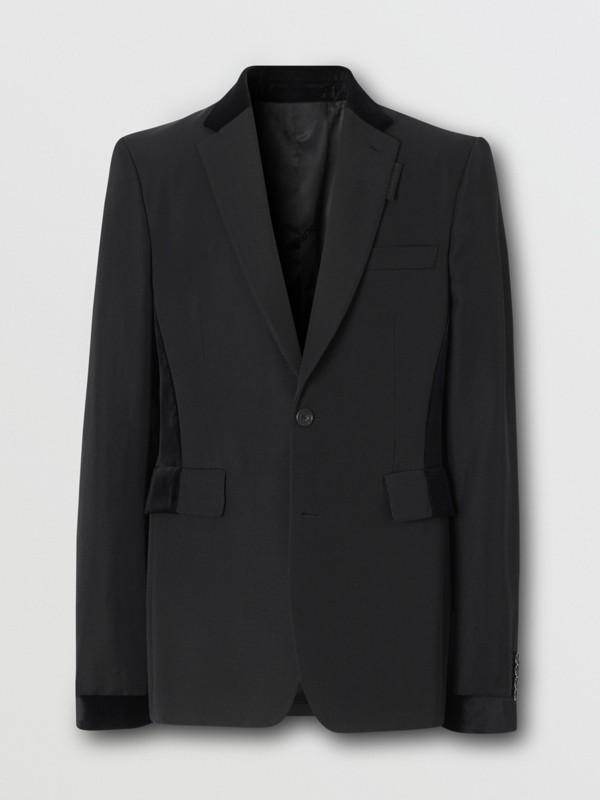 Classic Fit Velvet Trim Wool Tailored Jacket in Black - Men | Burberry Australia - cell image 3