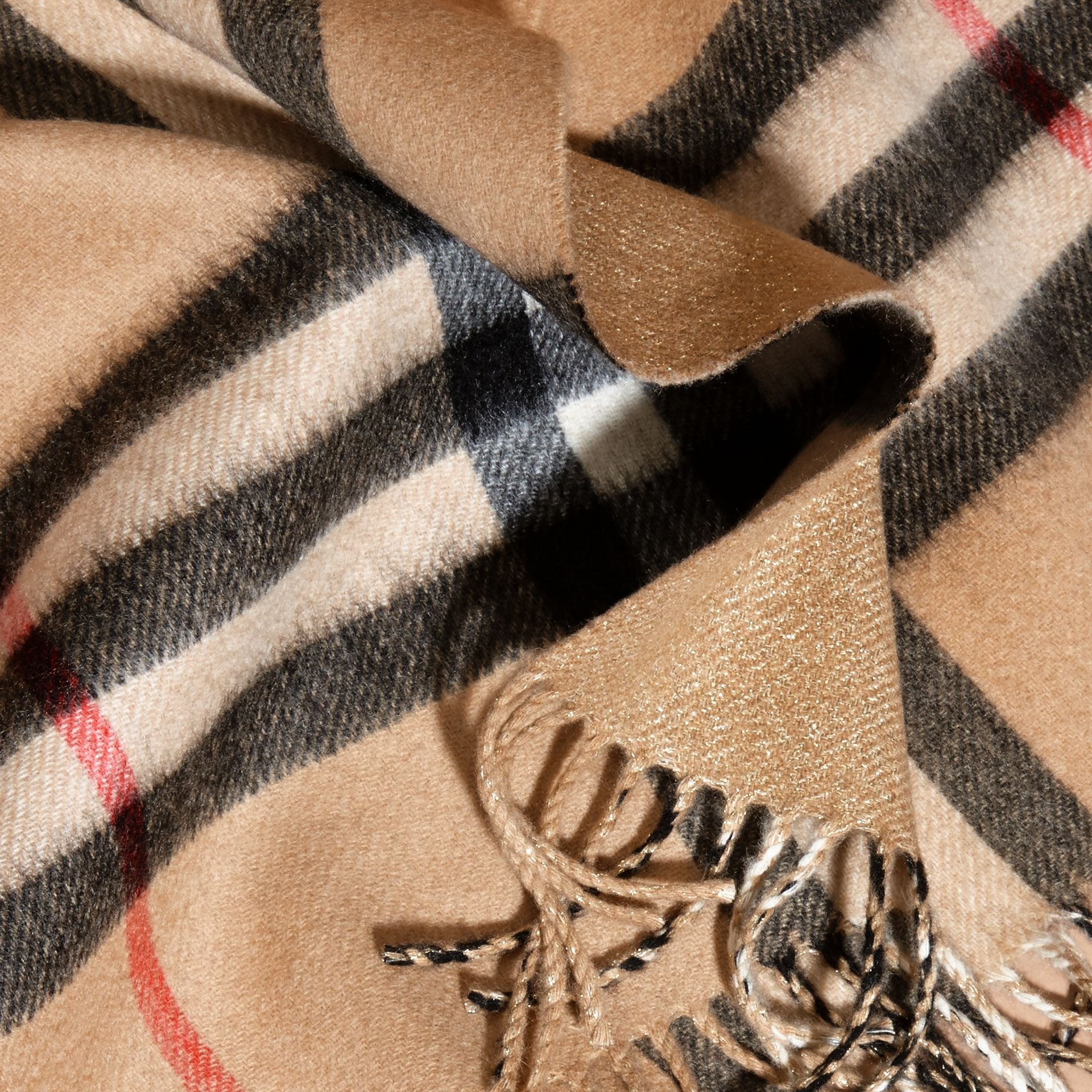 Reversible Metallic Check Cashmere Scarf in Camel | Burberry - gallery image 5