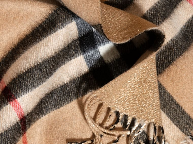 Reversible Metallic Check Cashmere Scarf in Camel | Burberry - cell image 4