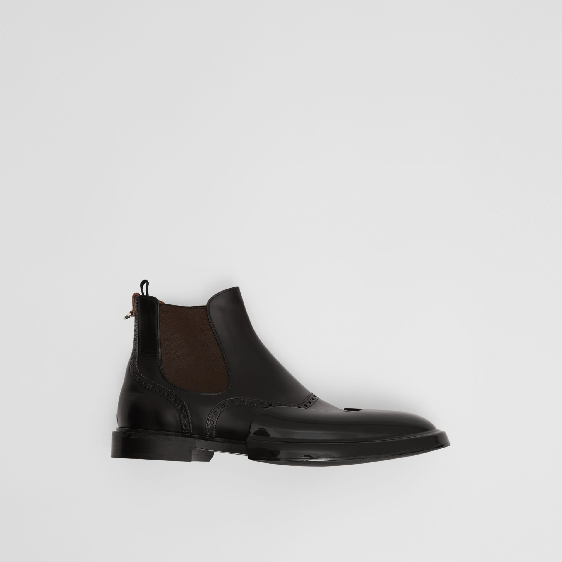 Toe Cap Detail Leather Chelsea Boots in Black | Burberry - gallery image 0