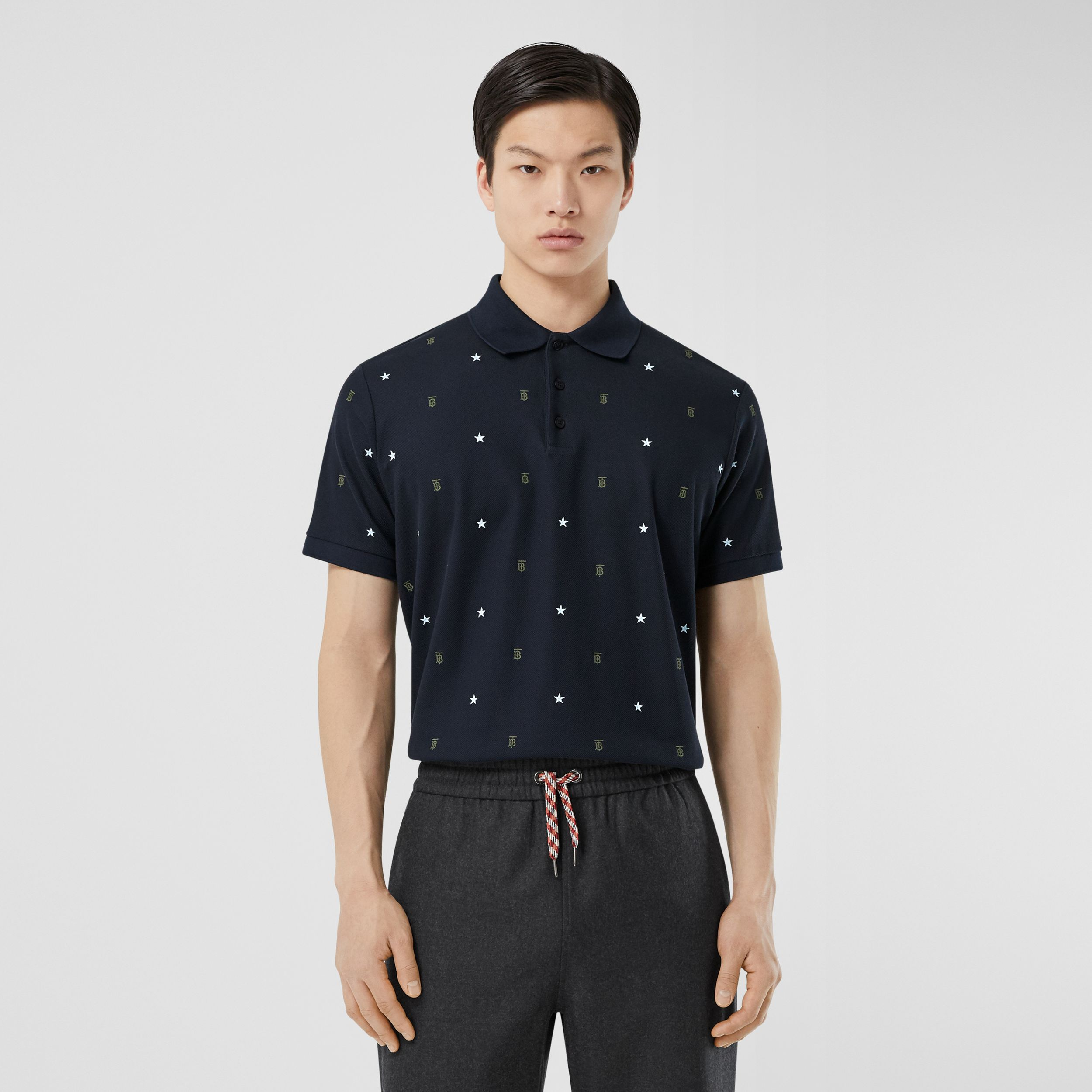 Star and Monogram Motif Cotton Piqué Polo Shirt in Navy - Men | Burberry - 1