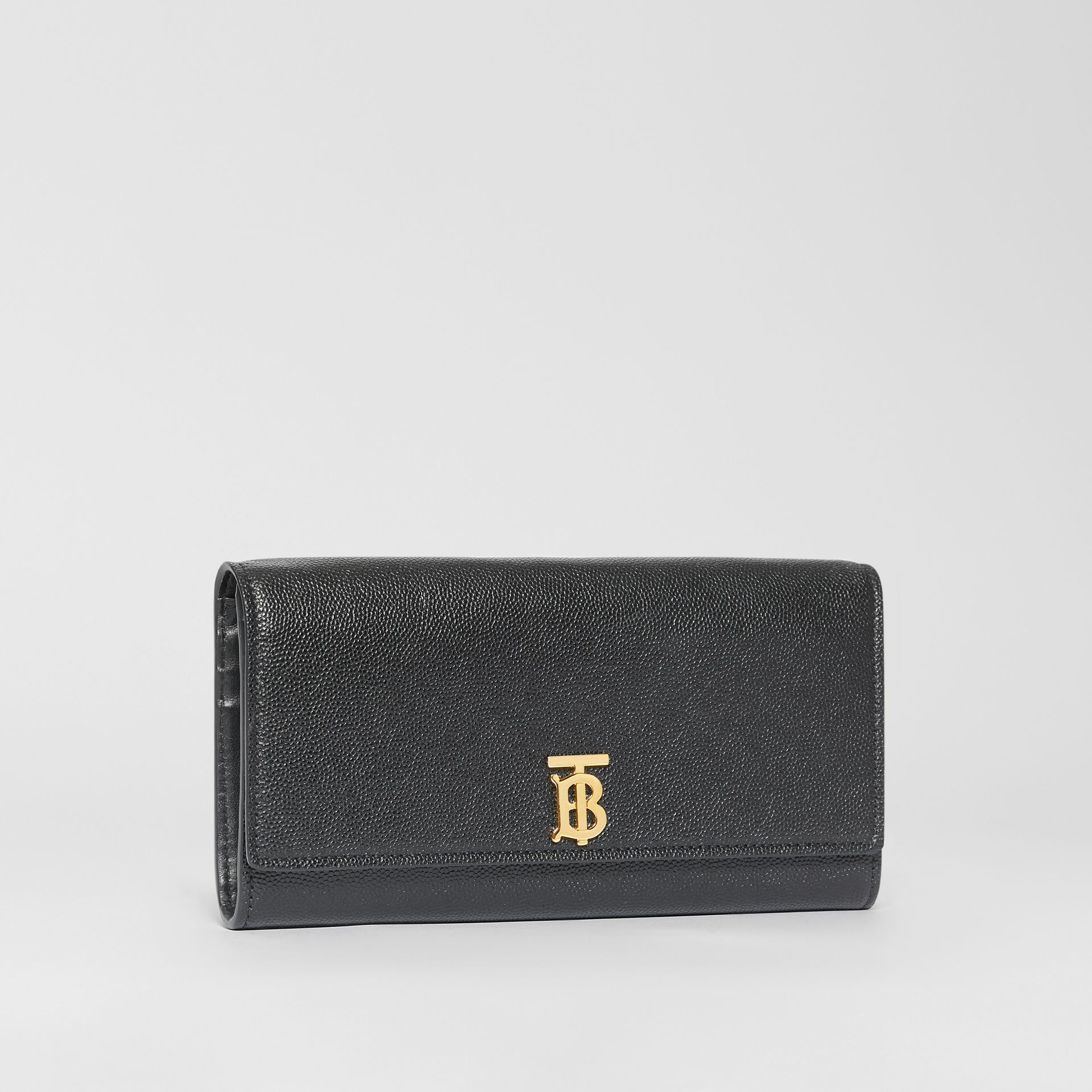 Monogram Motif Grainy Leather Continental Wallet in Black - Women | Burberry - gallery image 4