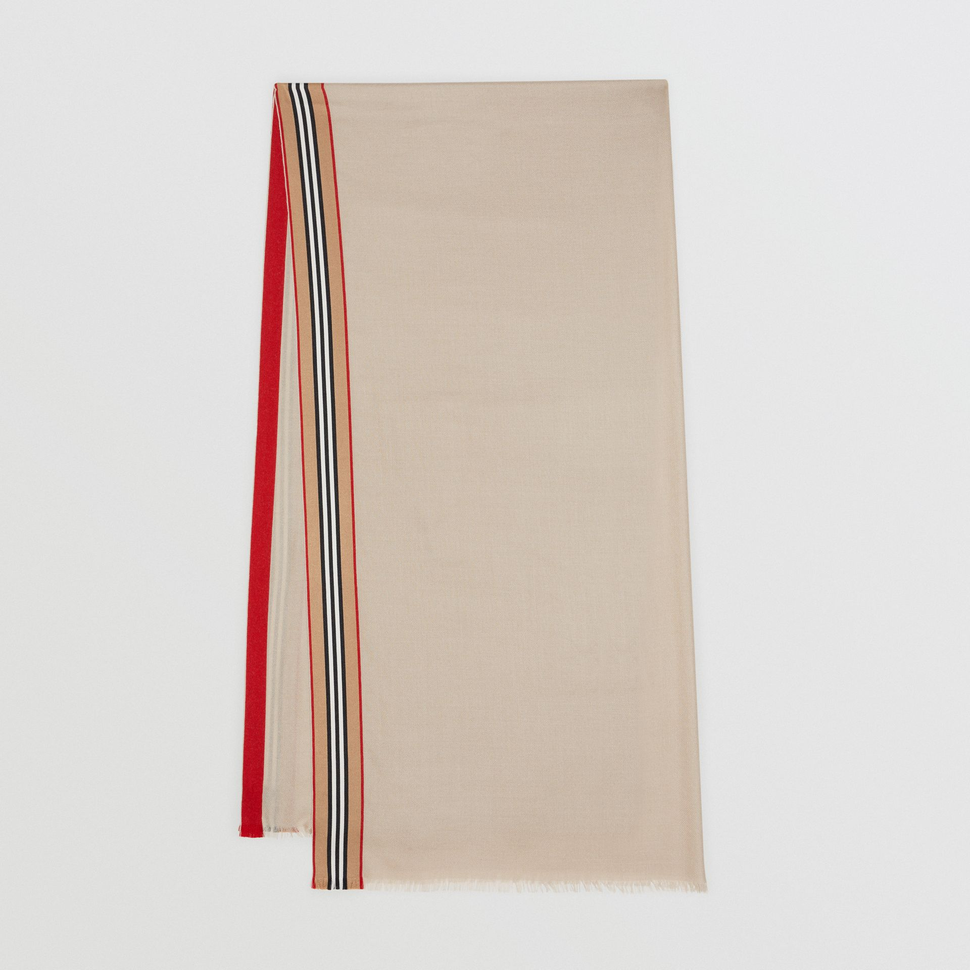 Icon Stripe Cashmere Silk Scarf in Stone | Burberry Singapore - gallery image 0