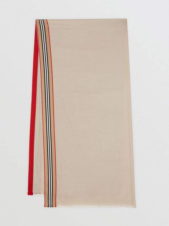 Icon Stripe Cashmere Silk Scarf in Stone