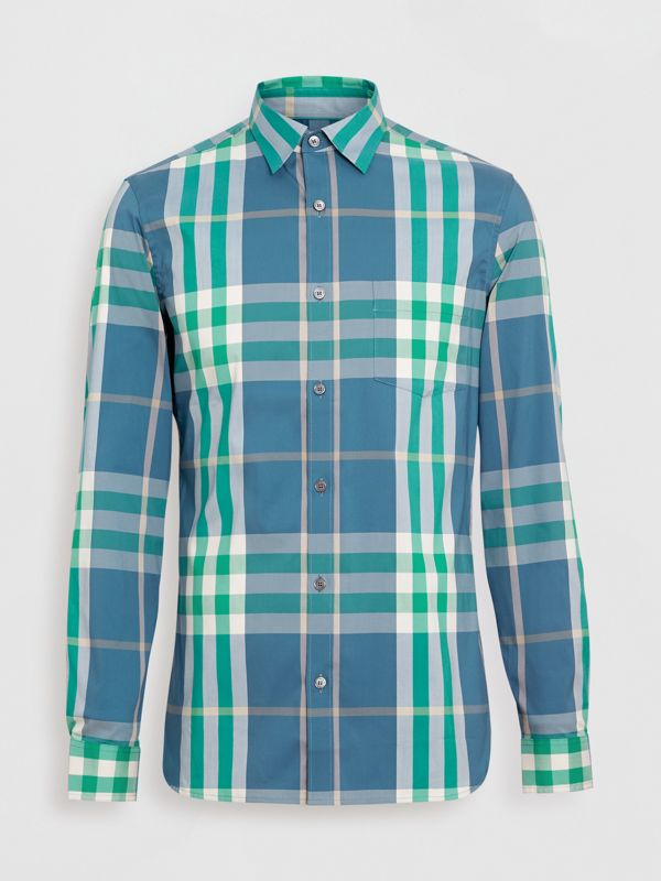 Check Stretch Cotton Shirt in Pewter Blue - Men | Burberry United States - cell image 3