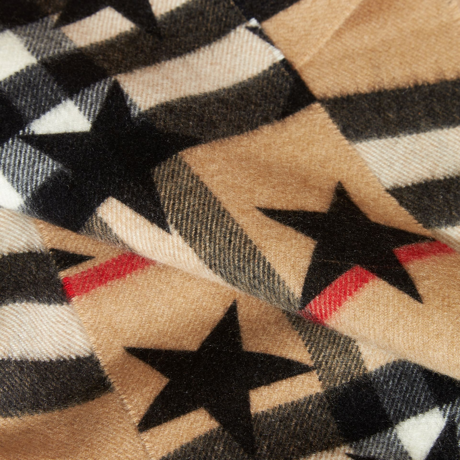 Black The Mini Classic Cashmere Scarf in Check with Star Print Black - gallery image 3