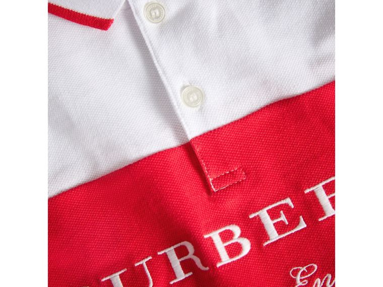 Tipped Cotton Piqué Polo Shirt in Bright Orange Red | Burberry Canada - cell image 1
