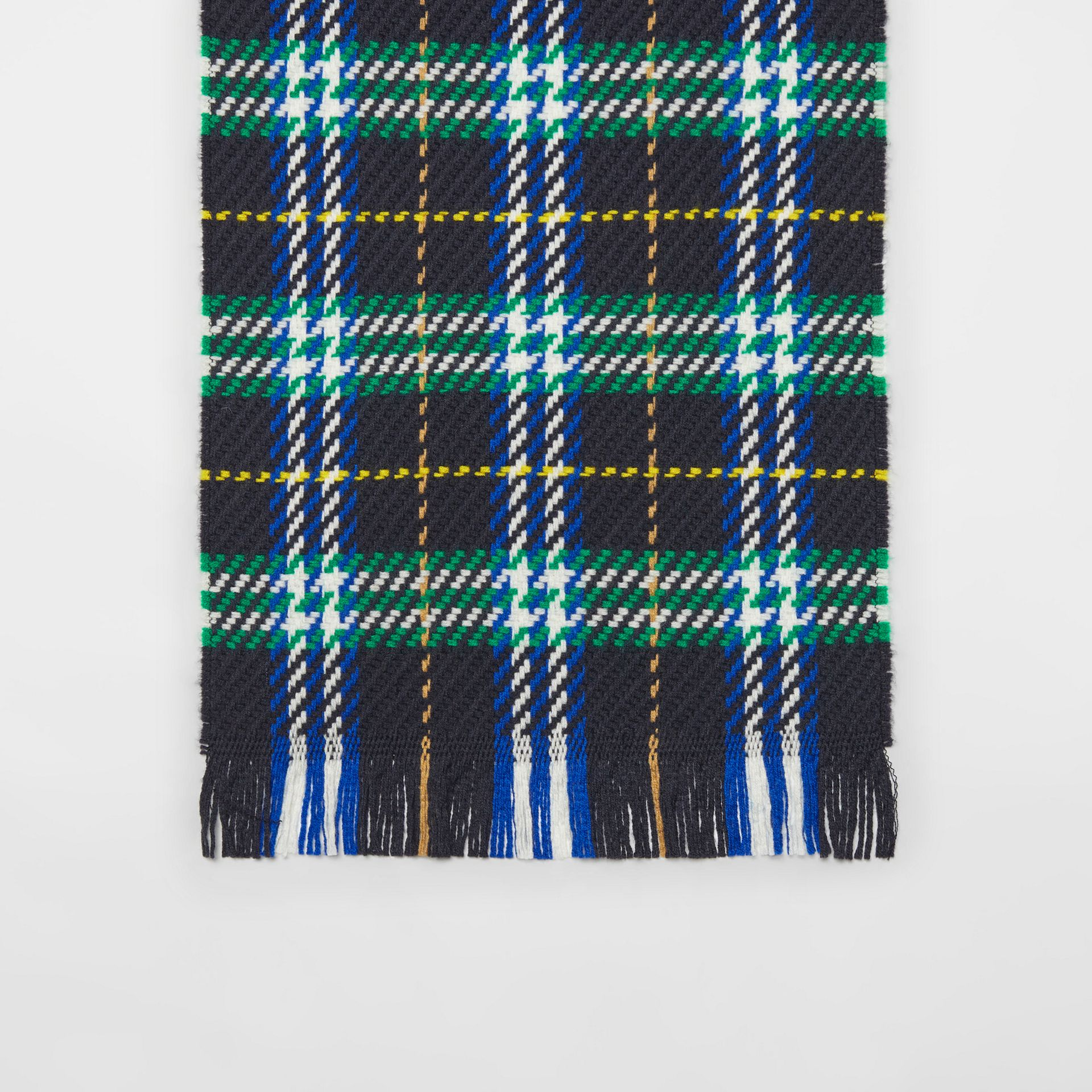 Check Merino Wool Scarf in Navy | Burberry - gallery image 4