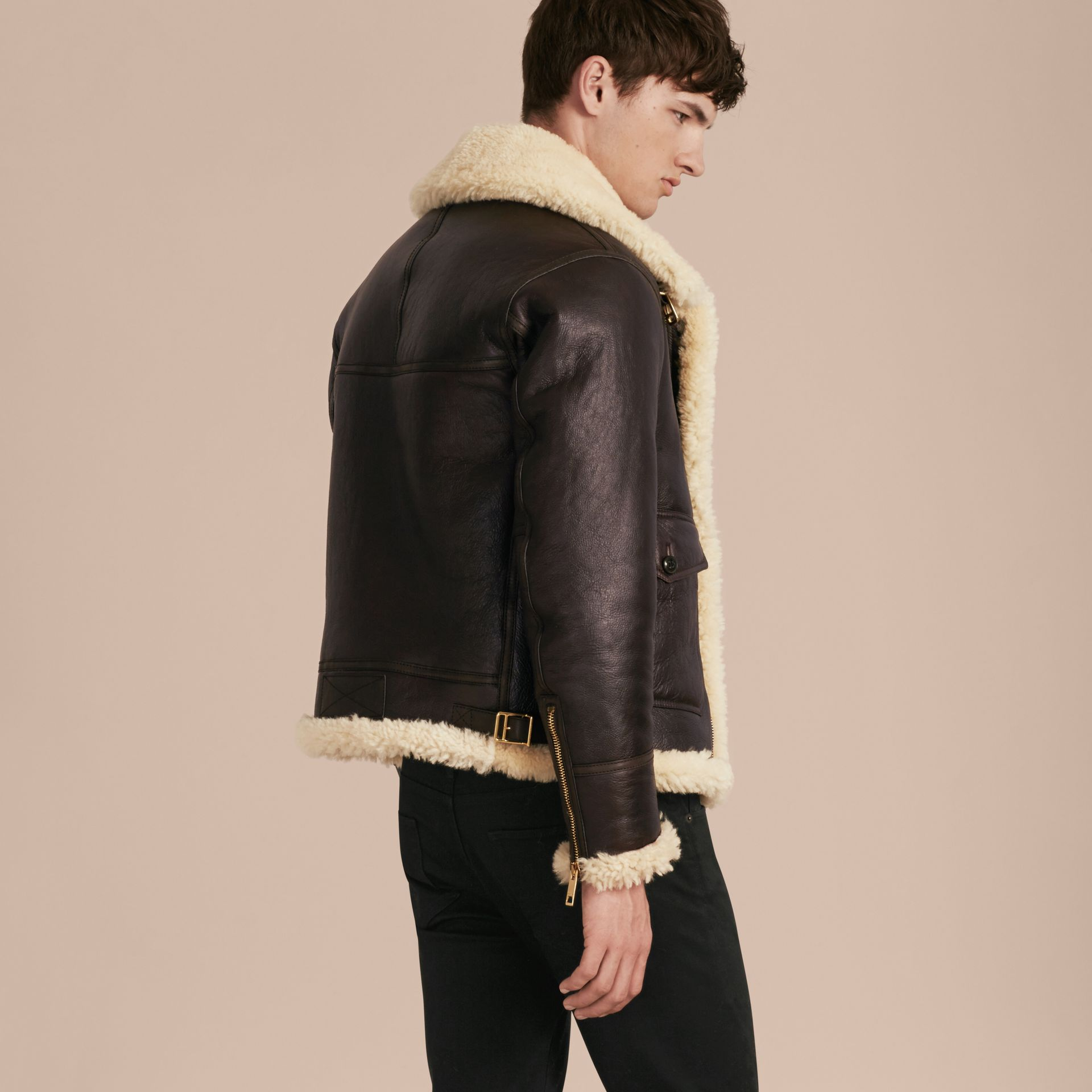Dark cognac Shearling Aviator Jacket - gallery image 3