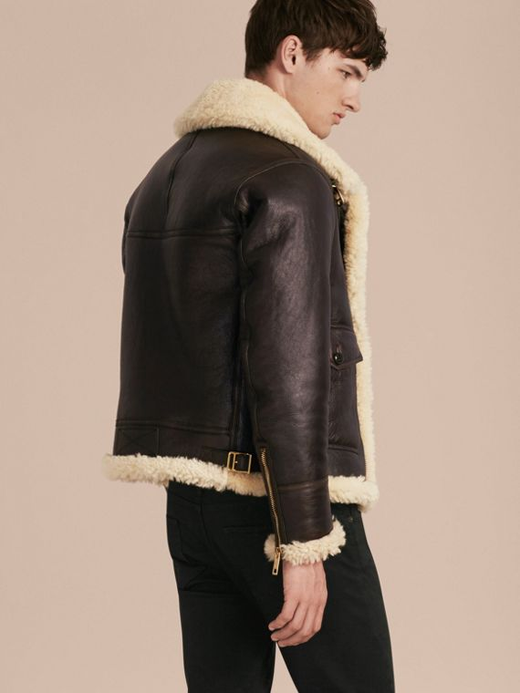 Dark cognac Shearling Aviator Jacket - cell image 2