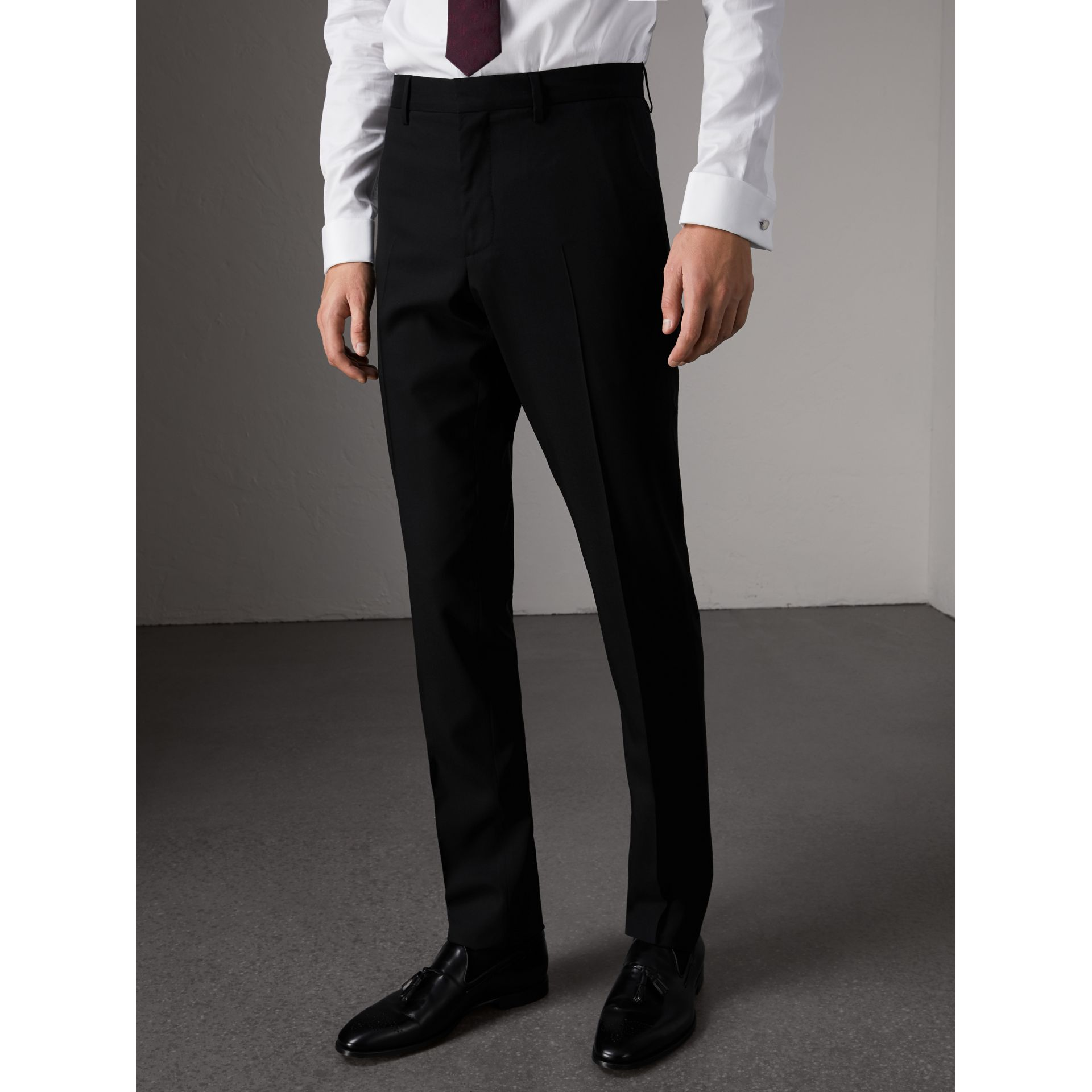 Slim Fit Wool Trousers in Black - Men | Burberry Australia - gallery image 5